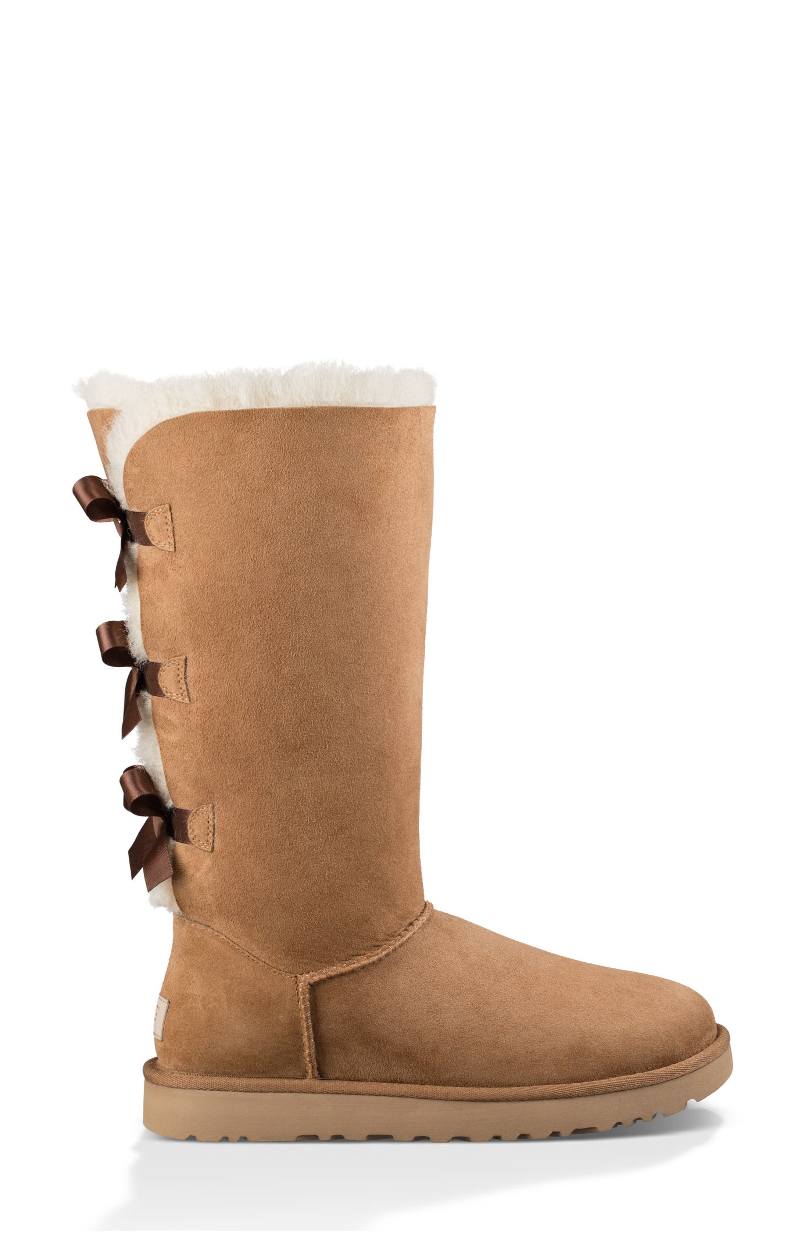 Bailey Bow Tall II Boot,                             Alternate thumbnail 6, color,                             Chestnut Suede