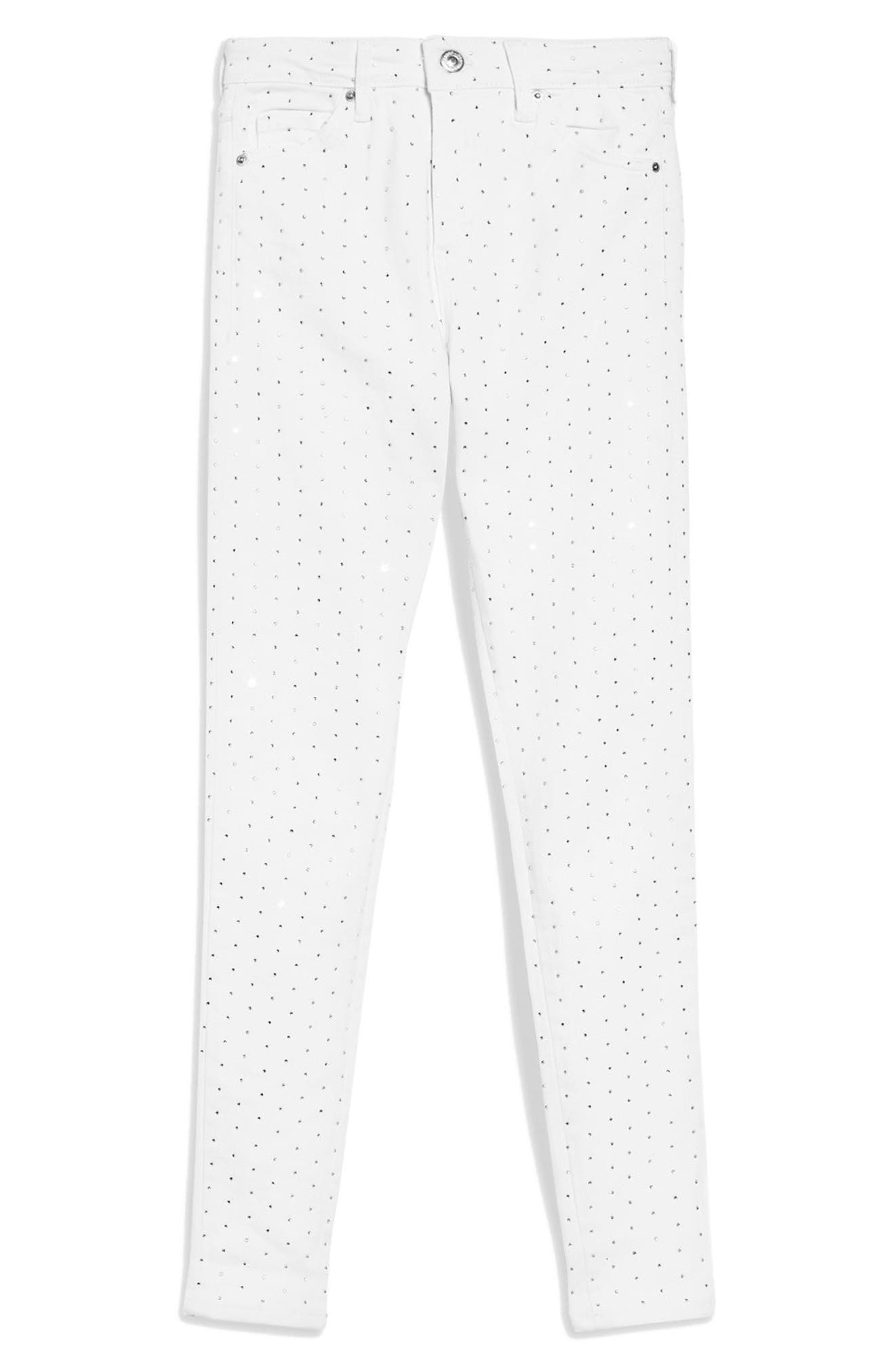 Jamie Diamante Skinny Jeans,                             Alternate thumbnail 3, color,                             White
