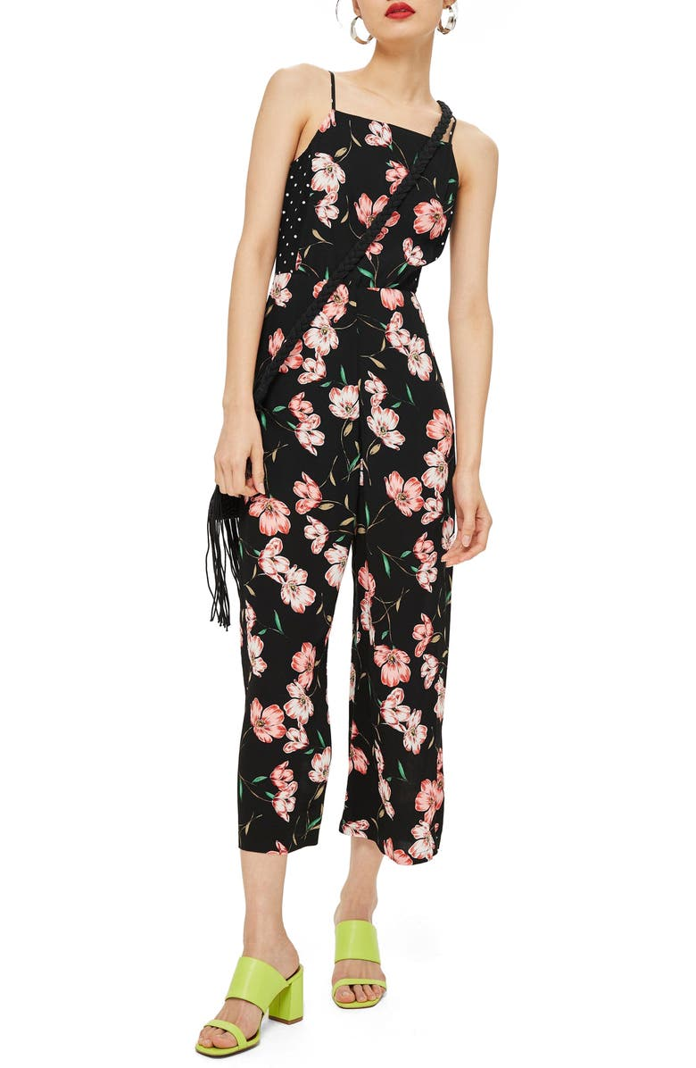 Floral Spotted Bow Back Jumpsuit
