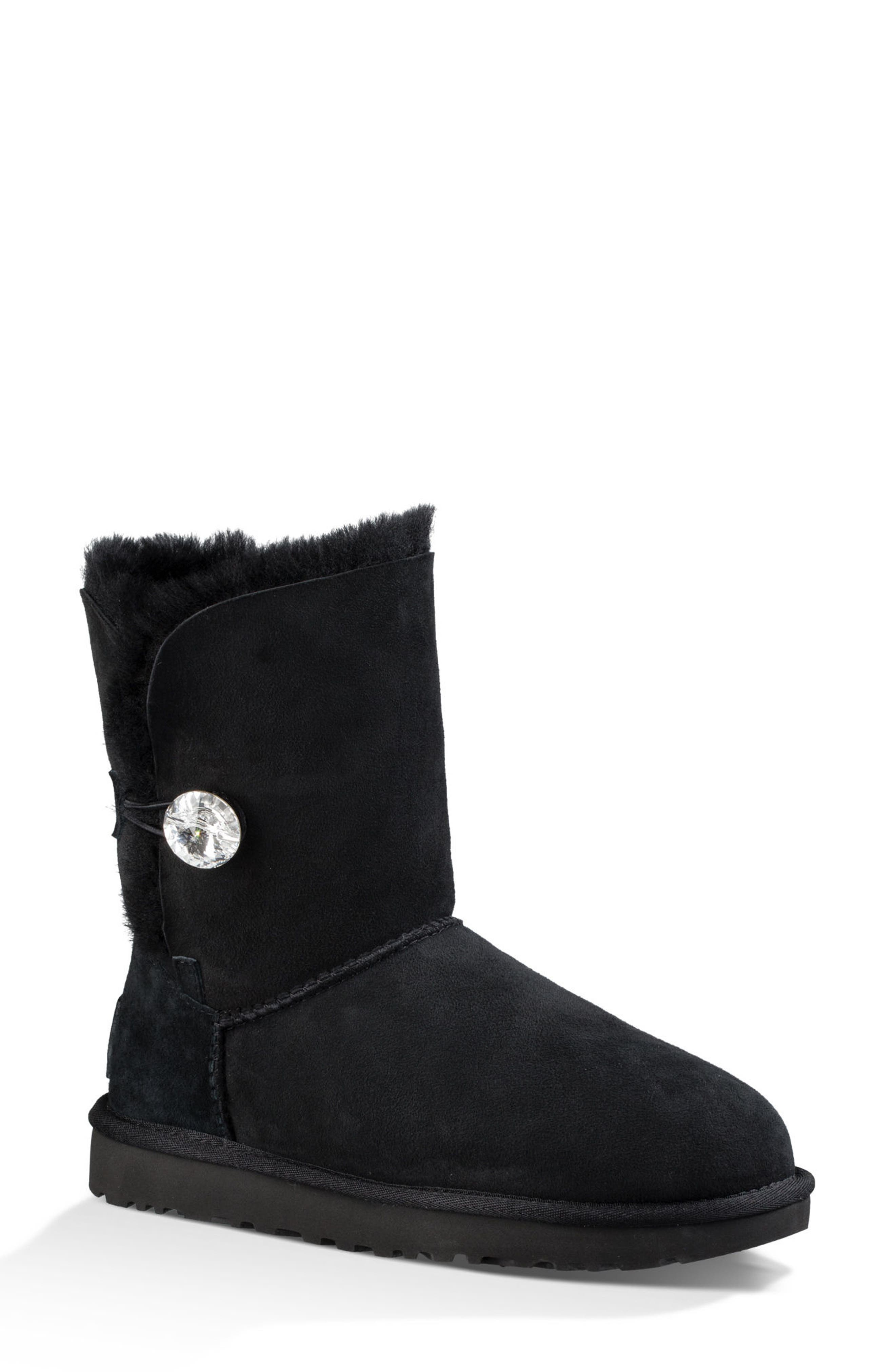 Bailey Button Bling Genuine Shearling Boot,                         Main,                         color, Black Suede