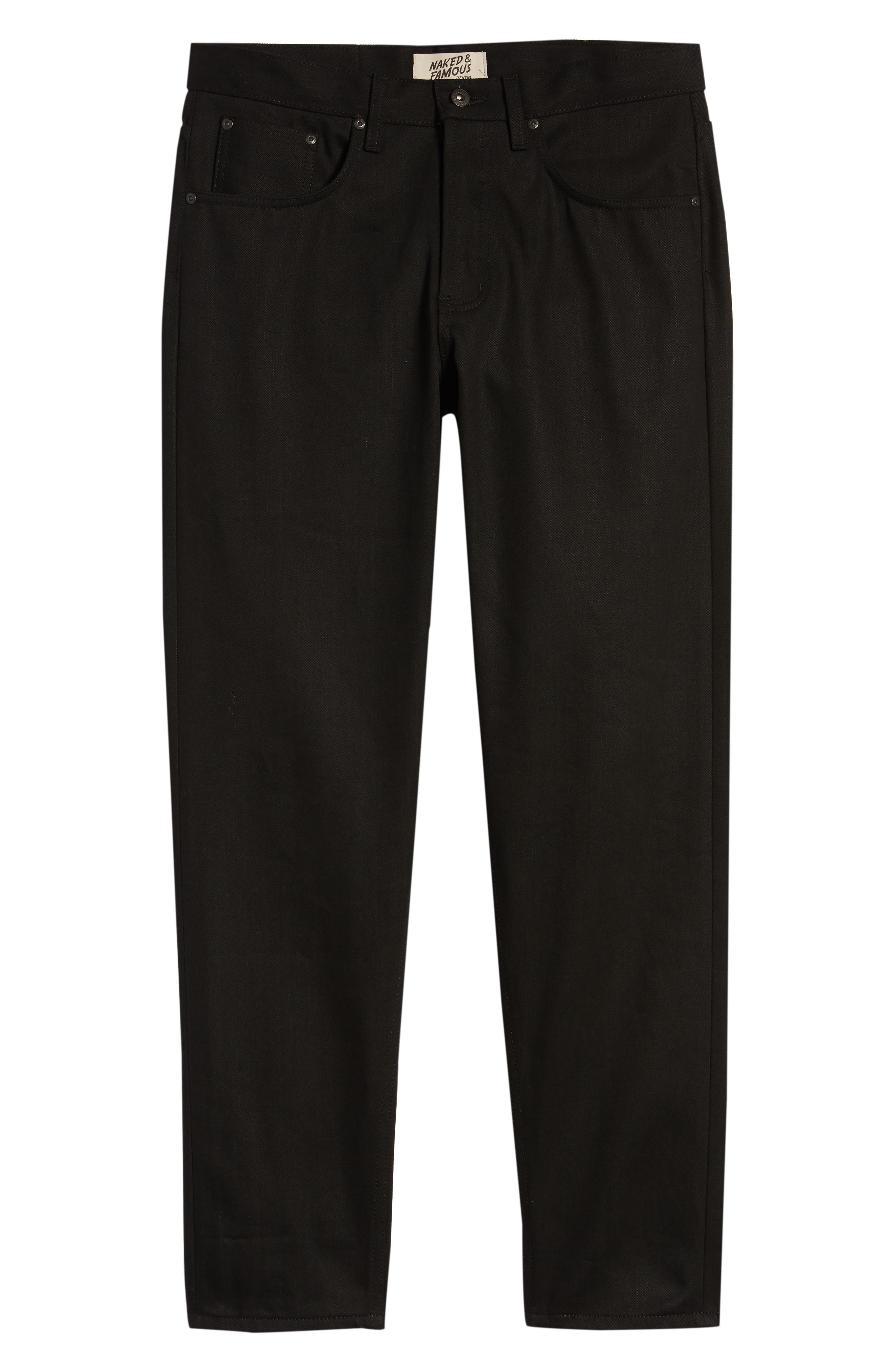 Naked & Famous Easy Guy Relaxed Fit Jeans,                             Alternate thumbnail 5, color,                             Solid Black Selvedge