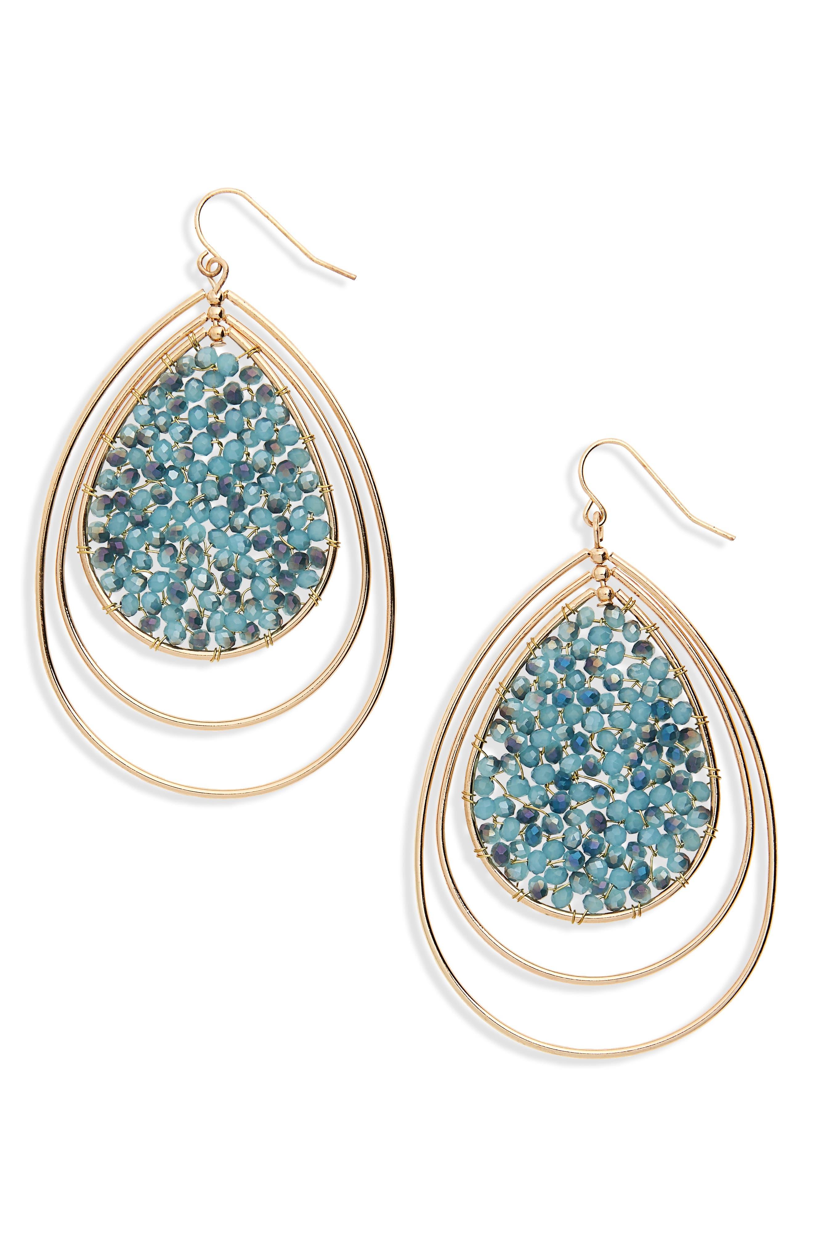 Triple Teardrop Earrings,                             Main thumbnail 1, color,                             Blue