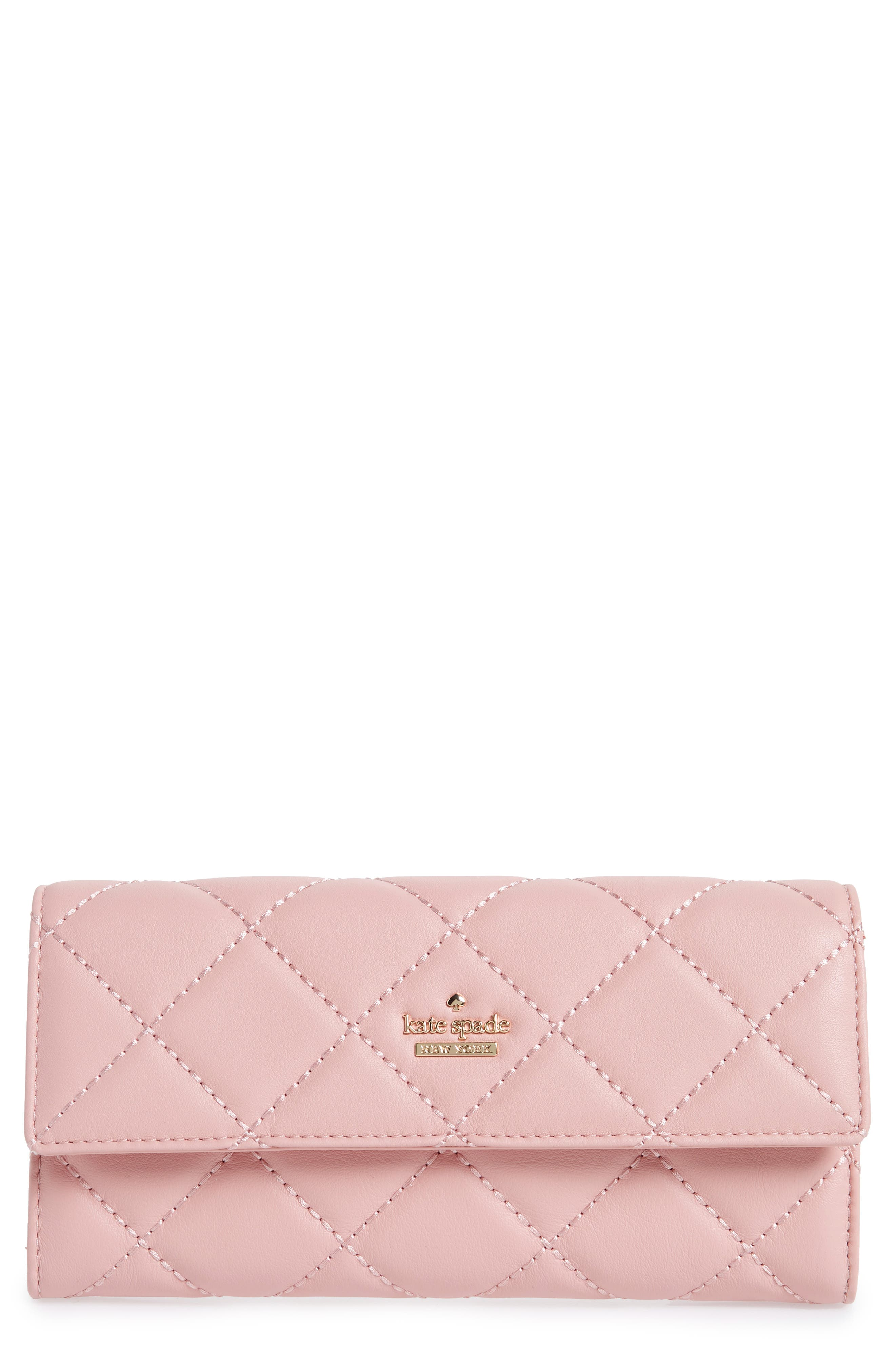 emerson place - kinsley quilted leather wallet,                             Main thumbnail 1, color,                             Rosy Cheeks