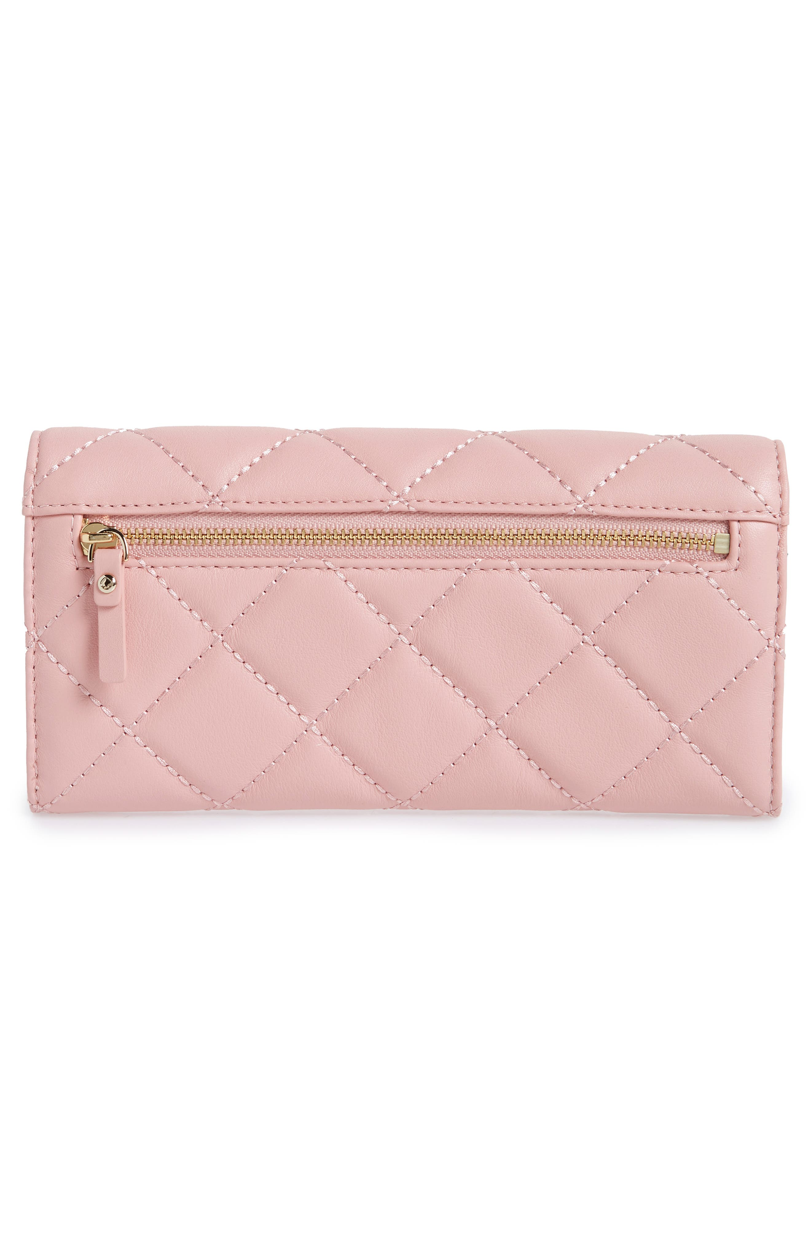 emerson place - kinsley quilted leather wallet,                             Alternate thumbnail 6, color,                             Rosy Cheeks