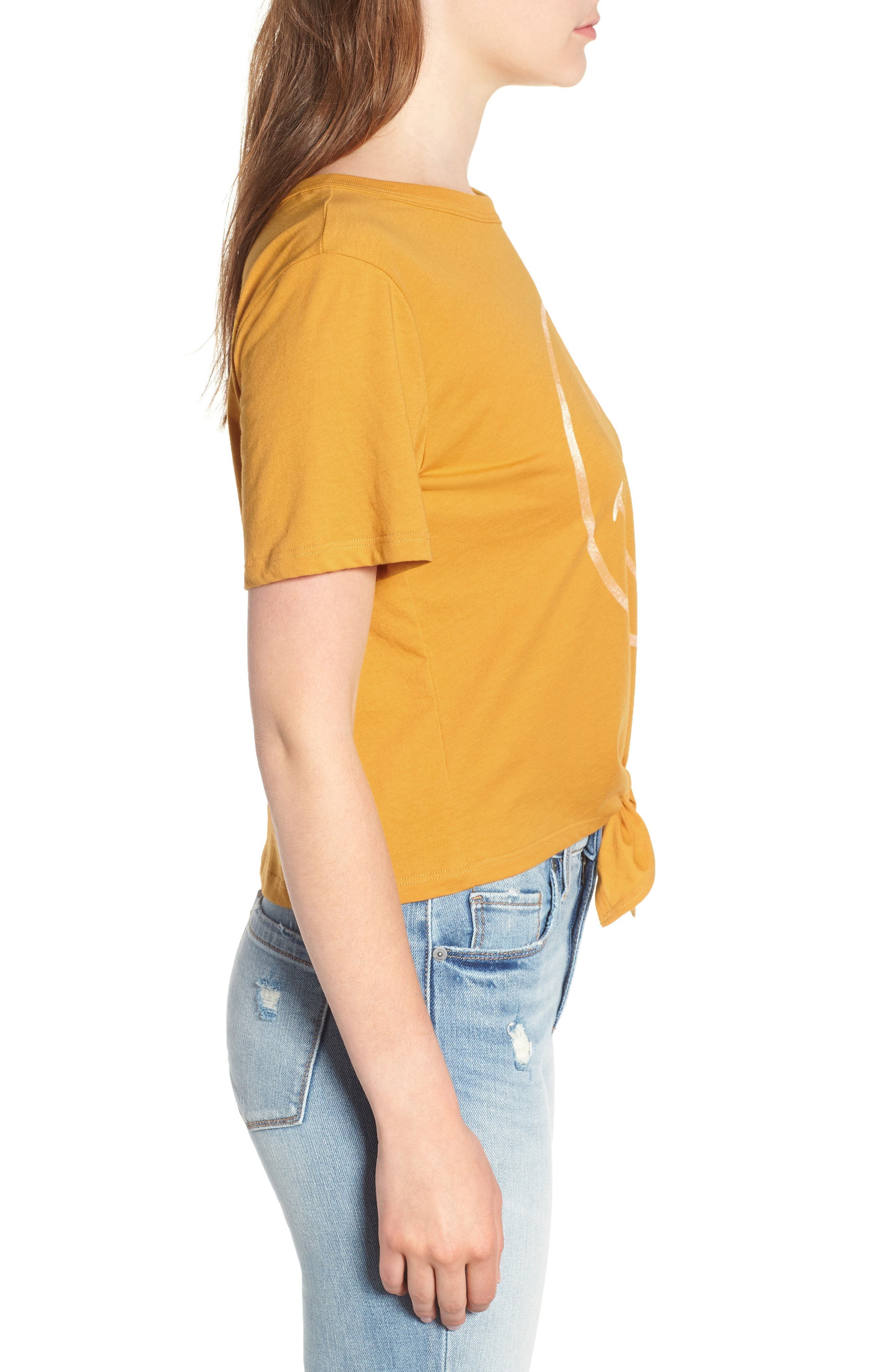 Smiley Tie Hem Boxy Tee,                             Alternate thumbnail 6, color,                             Golden