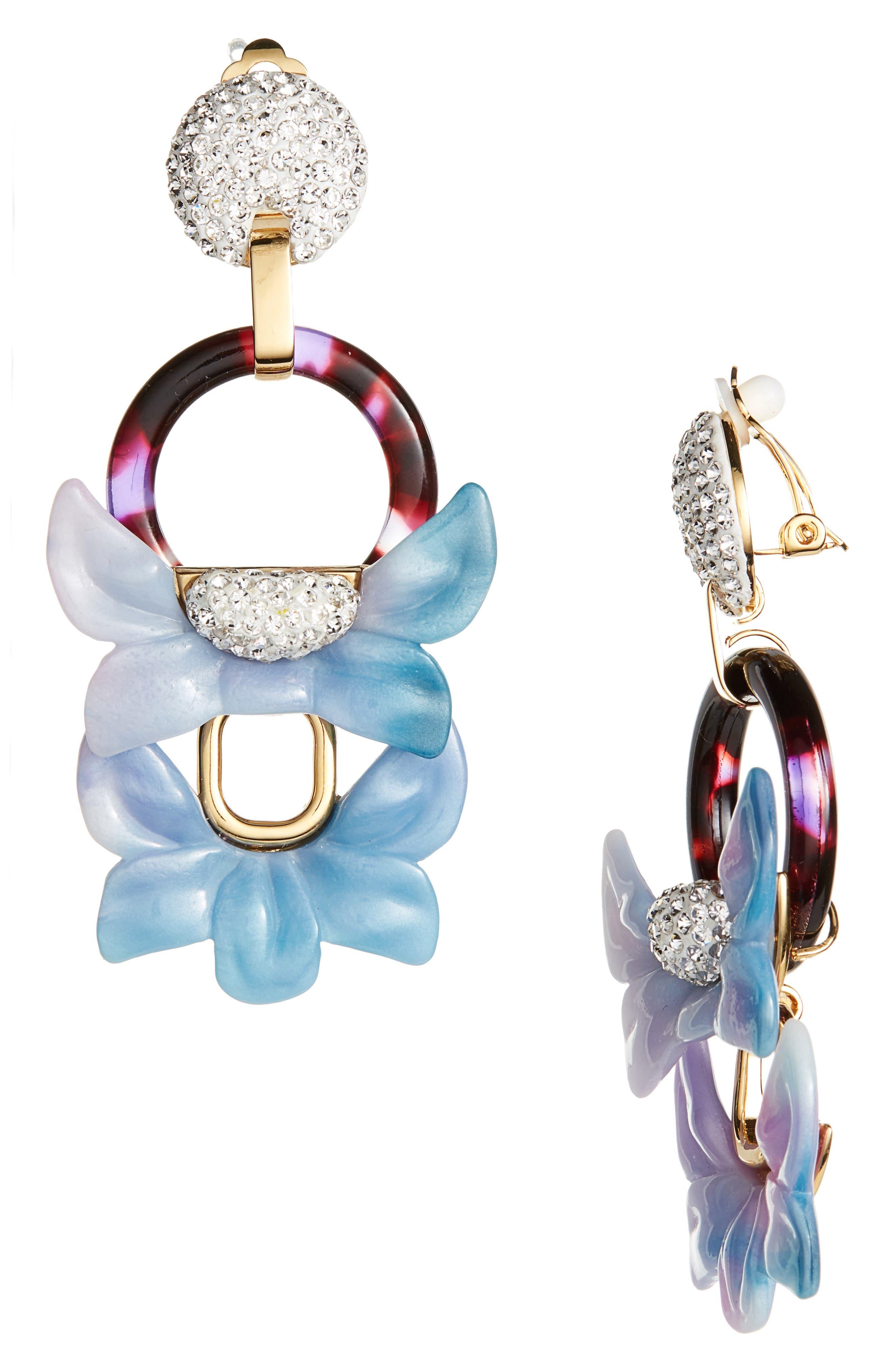Rio Clip Drop Earrings,                         Main,                         color, Black Orchid