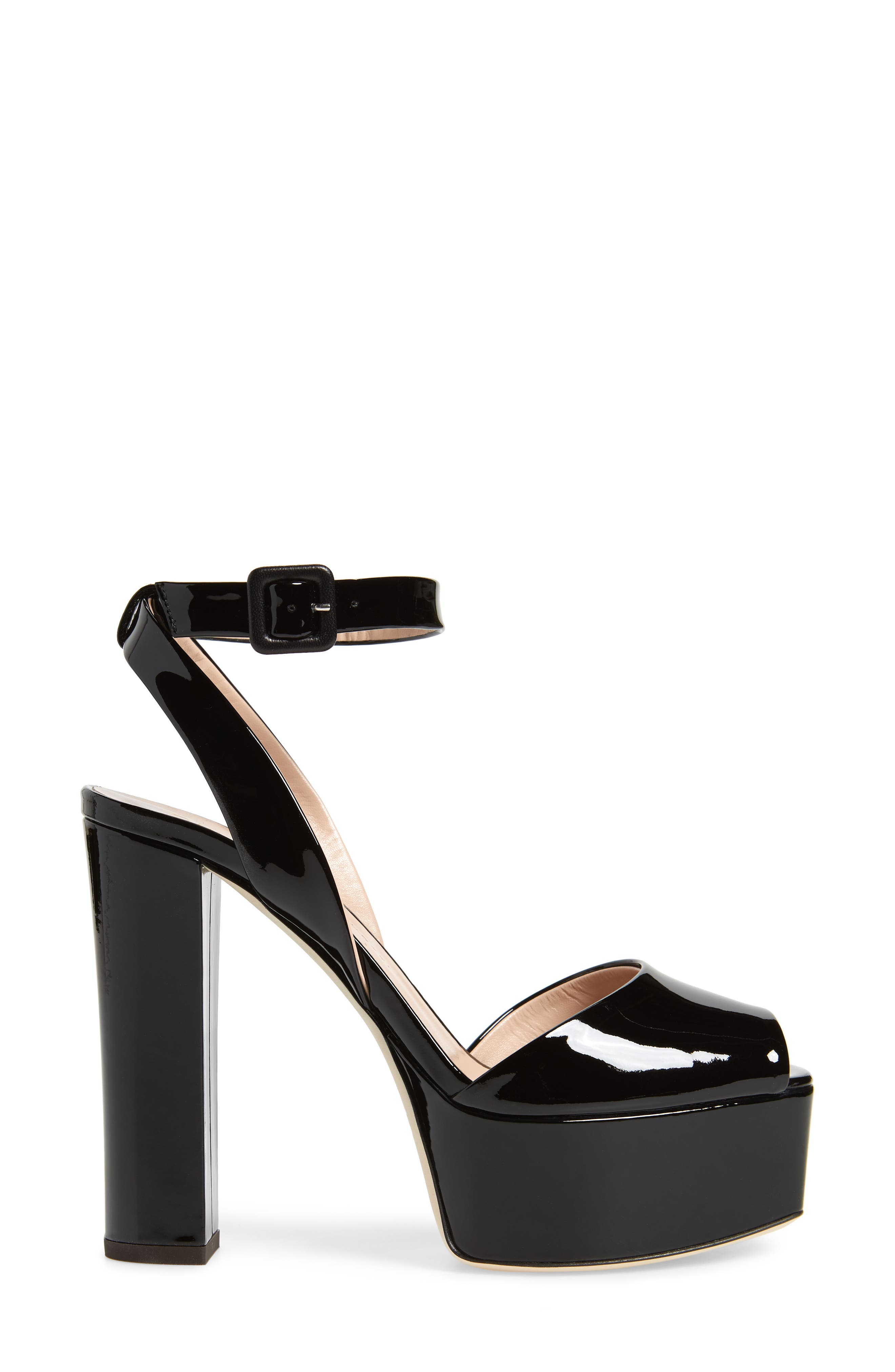 Lavinia Platform Sandal,                             Alternate thumbnail 3, color,                             Black Patent