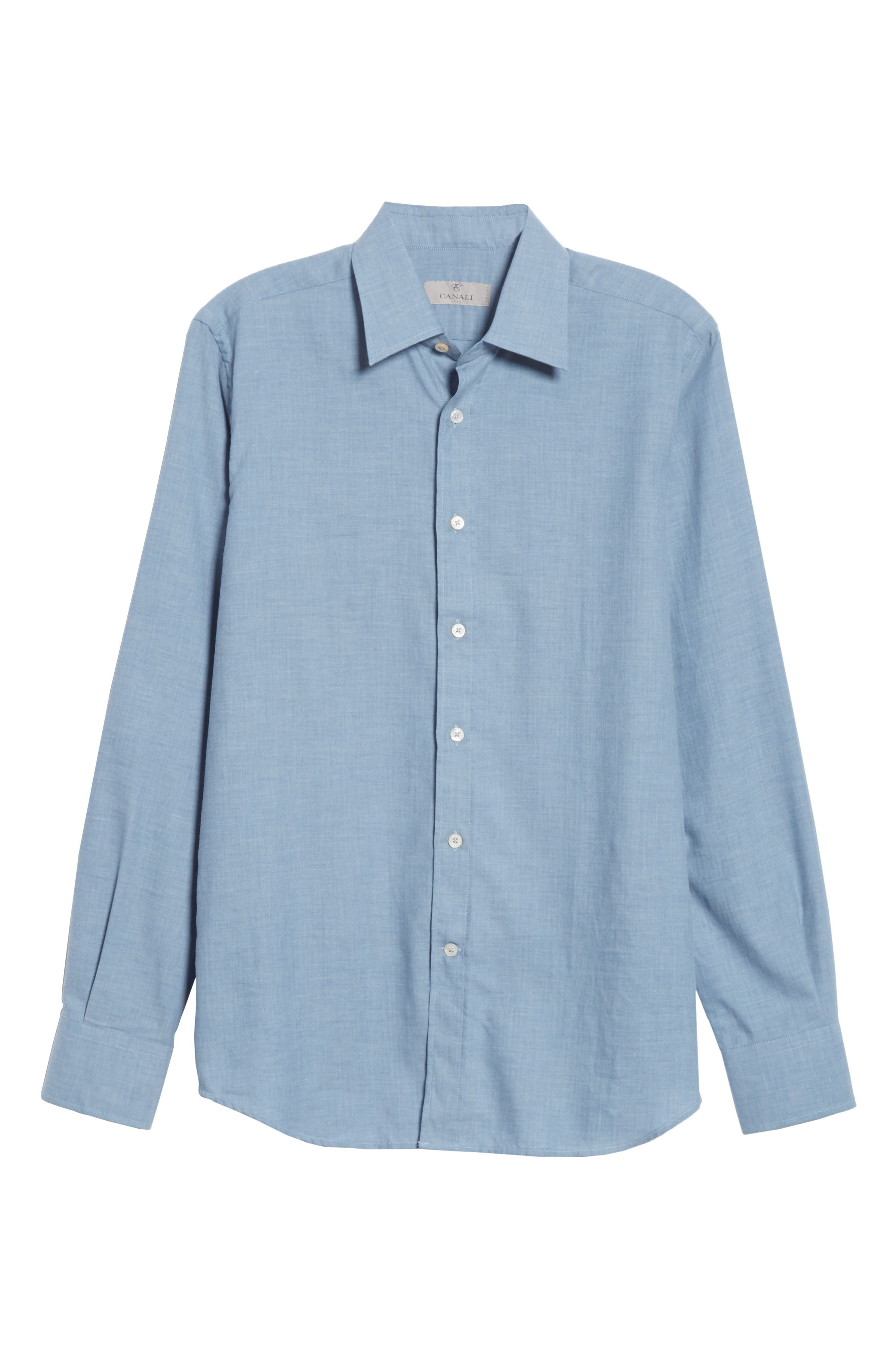 Classic Fit Herringbone Dress Shirt,                             Alternate thumbnail 8, color,                             Light Blue