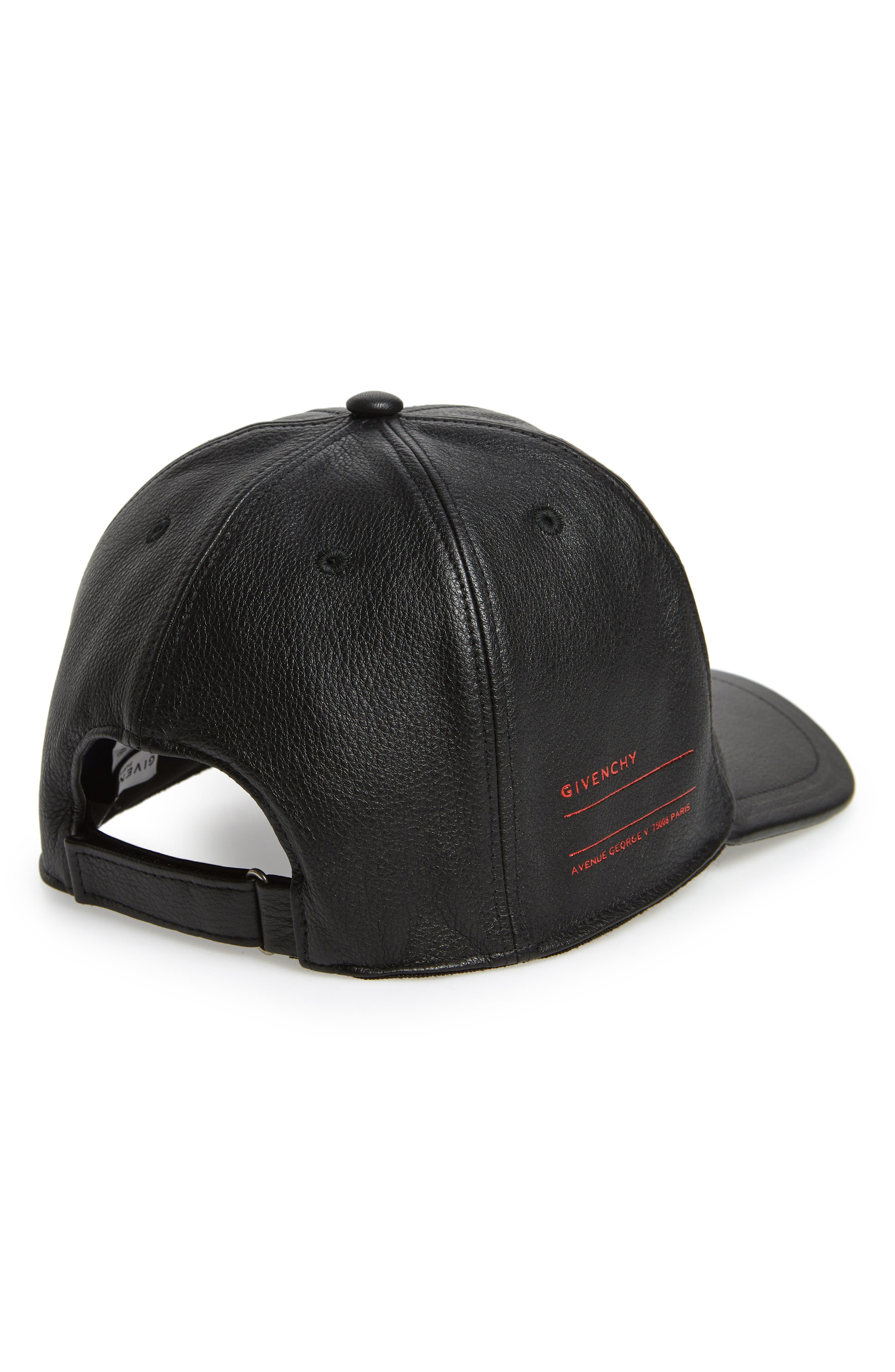 Leather Ball Cap,                             Alternate thumbnail 2, color,                             Black/ White