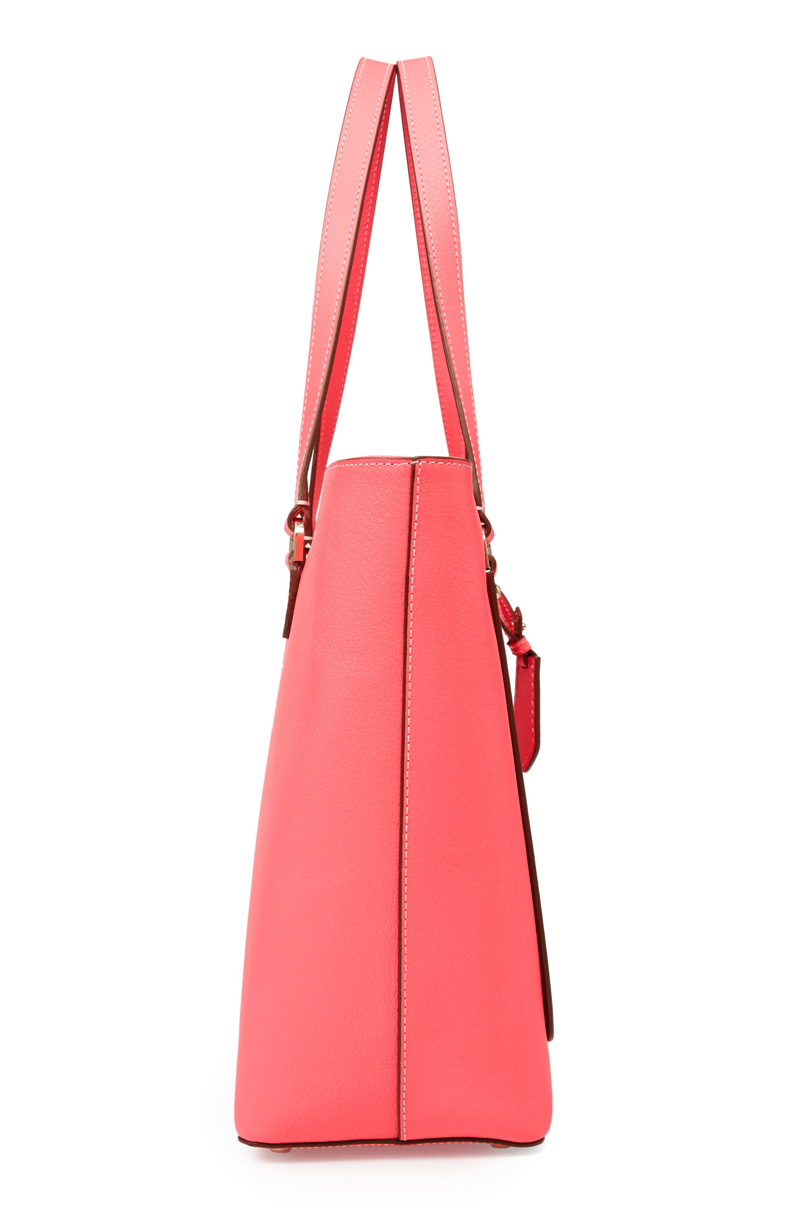 thompson street - kimberly leather tote,                             Alternate thumbnail 6, color,                             Bright Flamingo