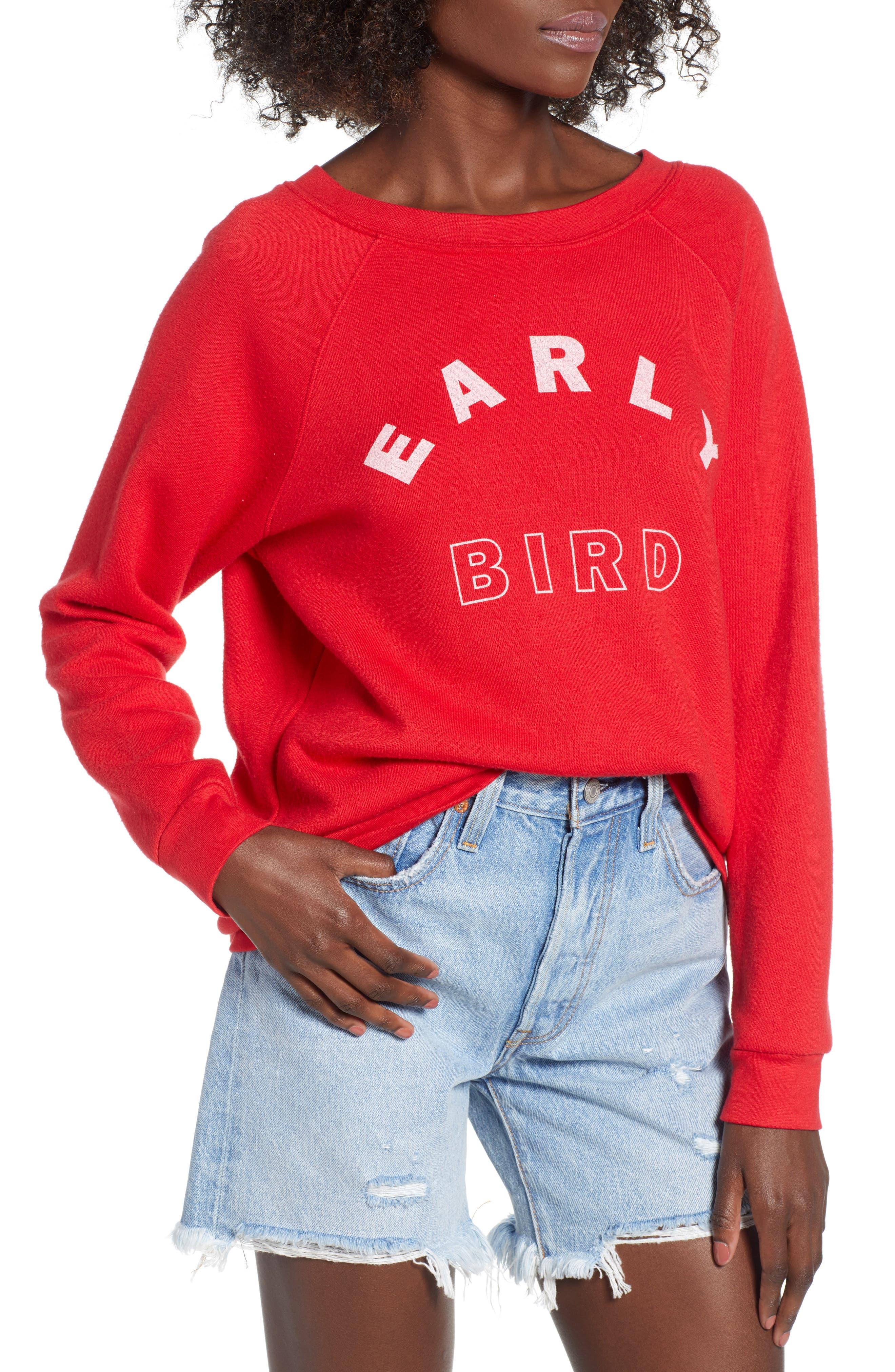 Reversible Sweatshirt,                         Main,                         color, Red