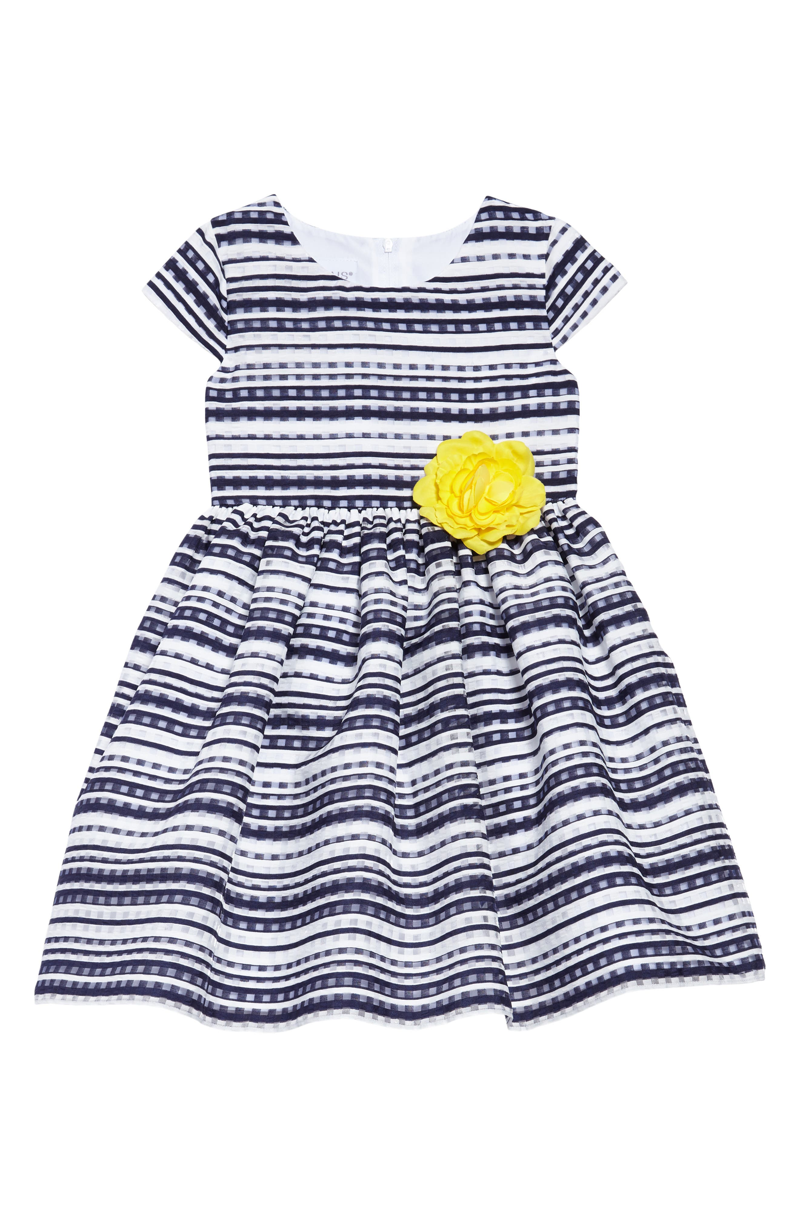 Shadow Stripe Fit & Flare Dress,                             Main thumbnail 1, color,                             Navy/ White