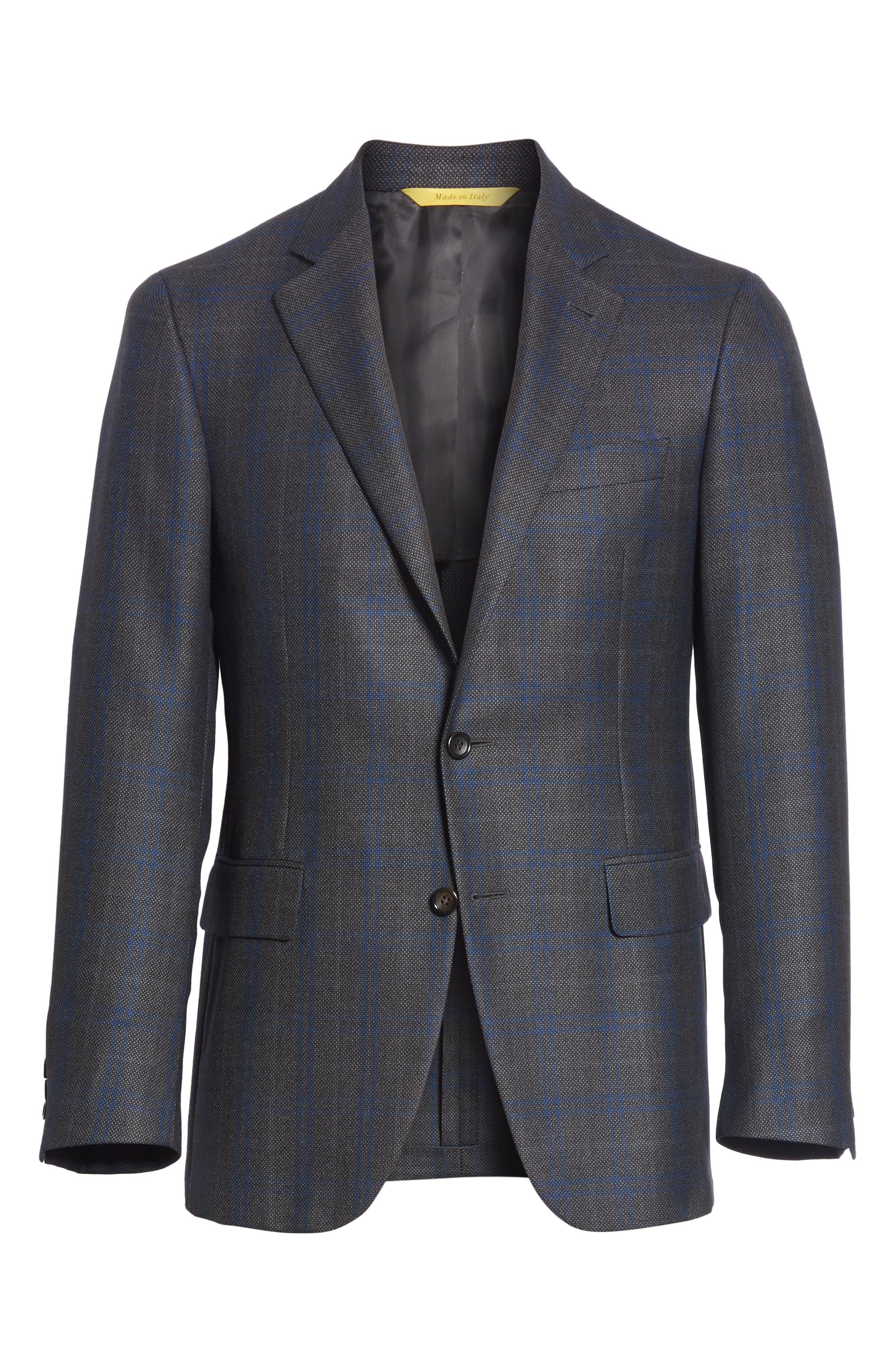 Classic Fit Plaid Silk & Wool Sport Coat,                             Alternate thumbnail 6, color,                             Charcoal