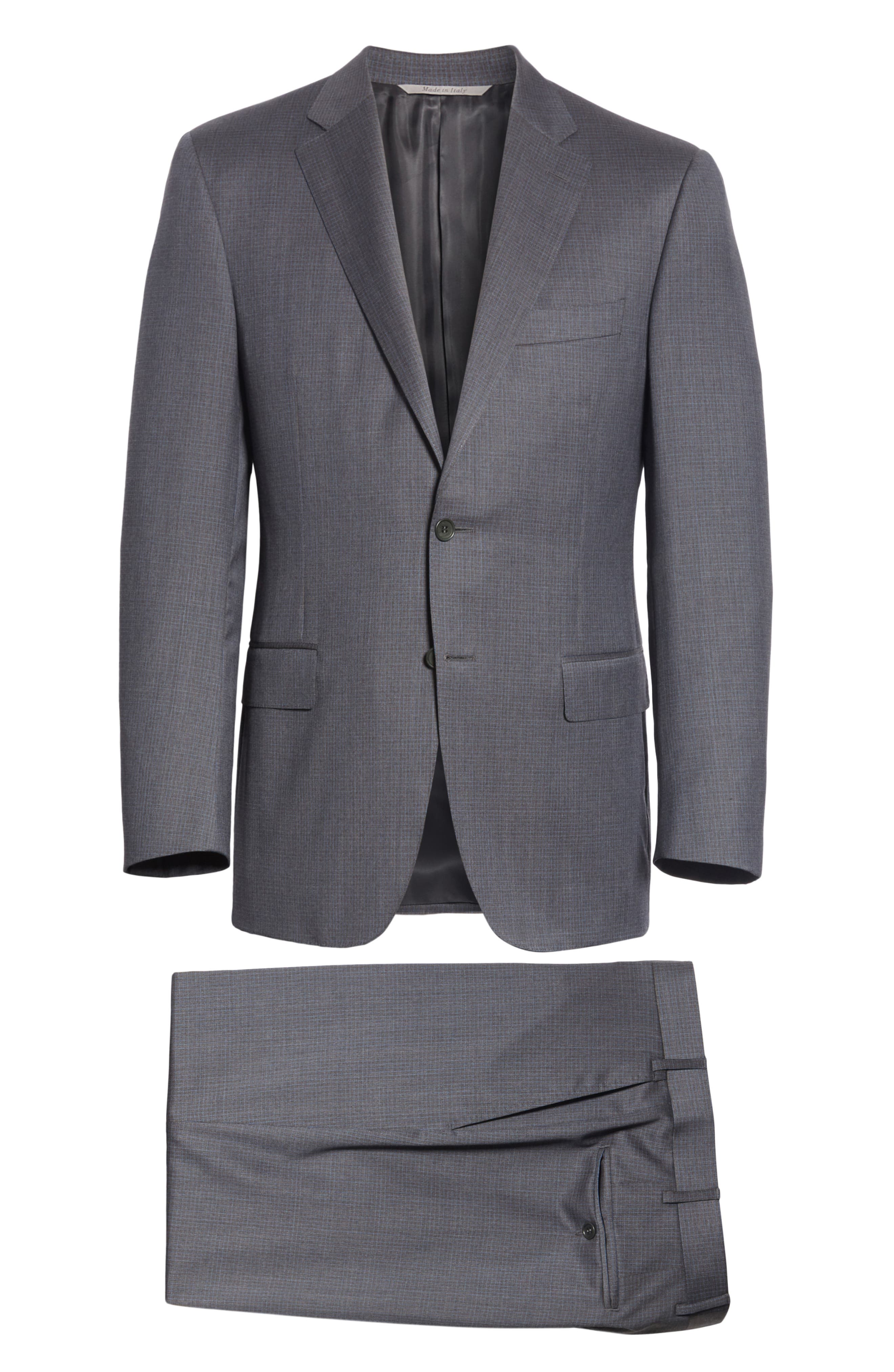 Classic Fit Check Wool Suit,                             Alternate thumbnail 7, color,                             Grey