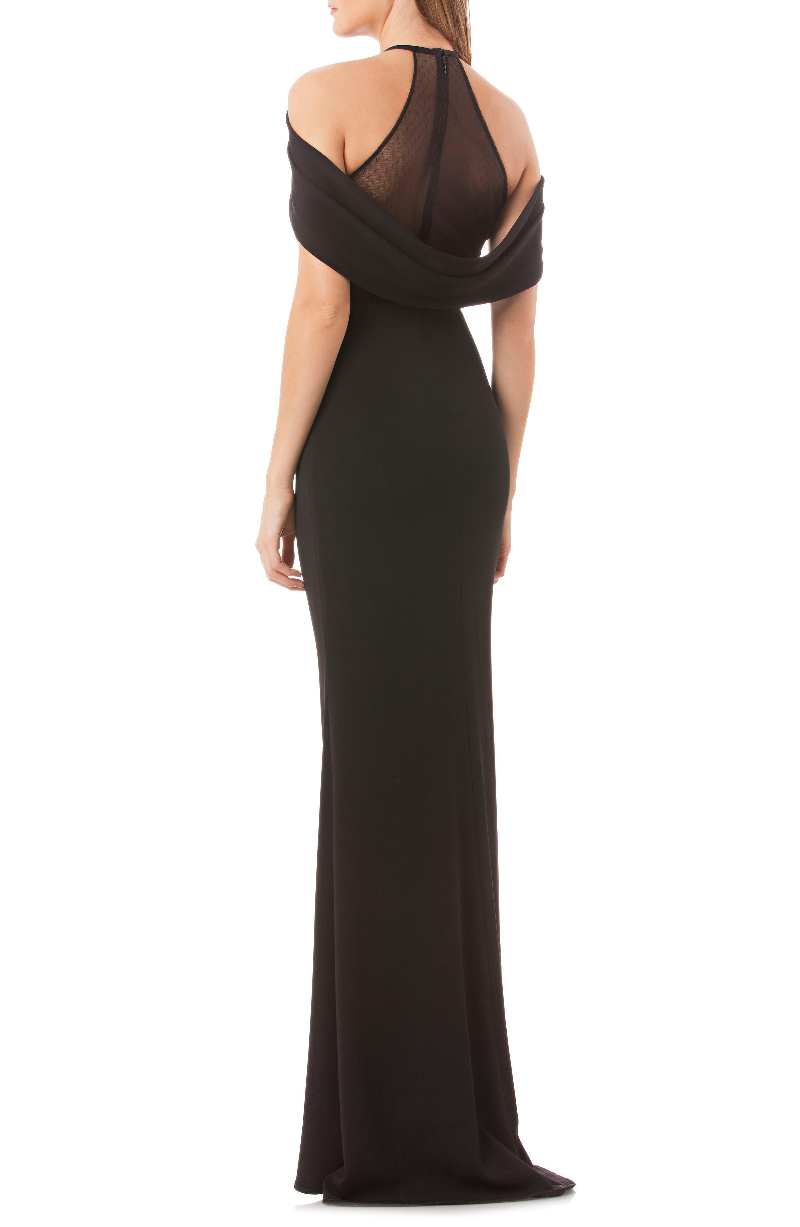 Carmen Marc Valvo Halter Neck Gown,                             Alternate thumbnail 2, color,                             Black