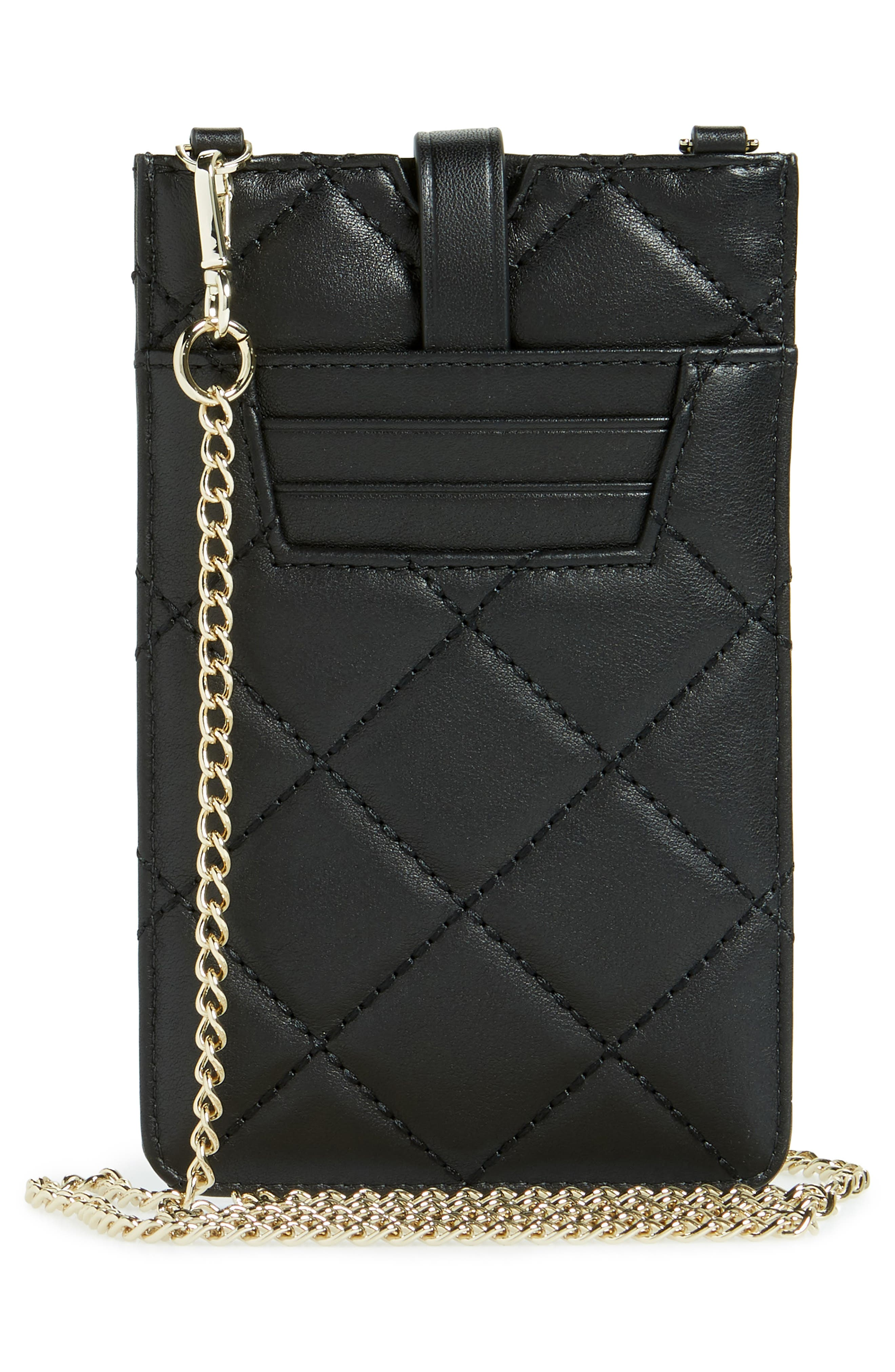 quilted leather iPhone crossbody bag,                             Alternate thumbnail 4, color,                             Black