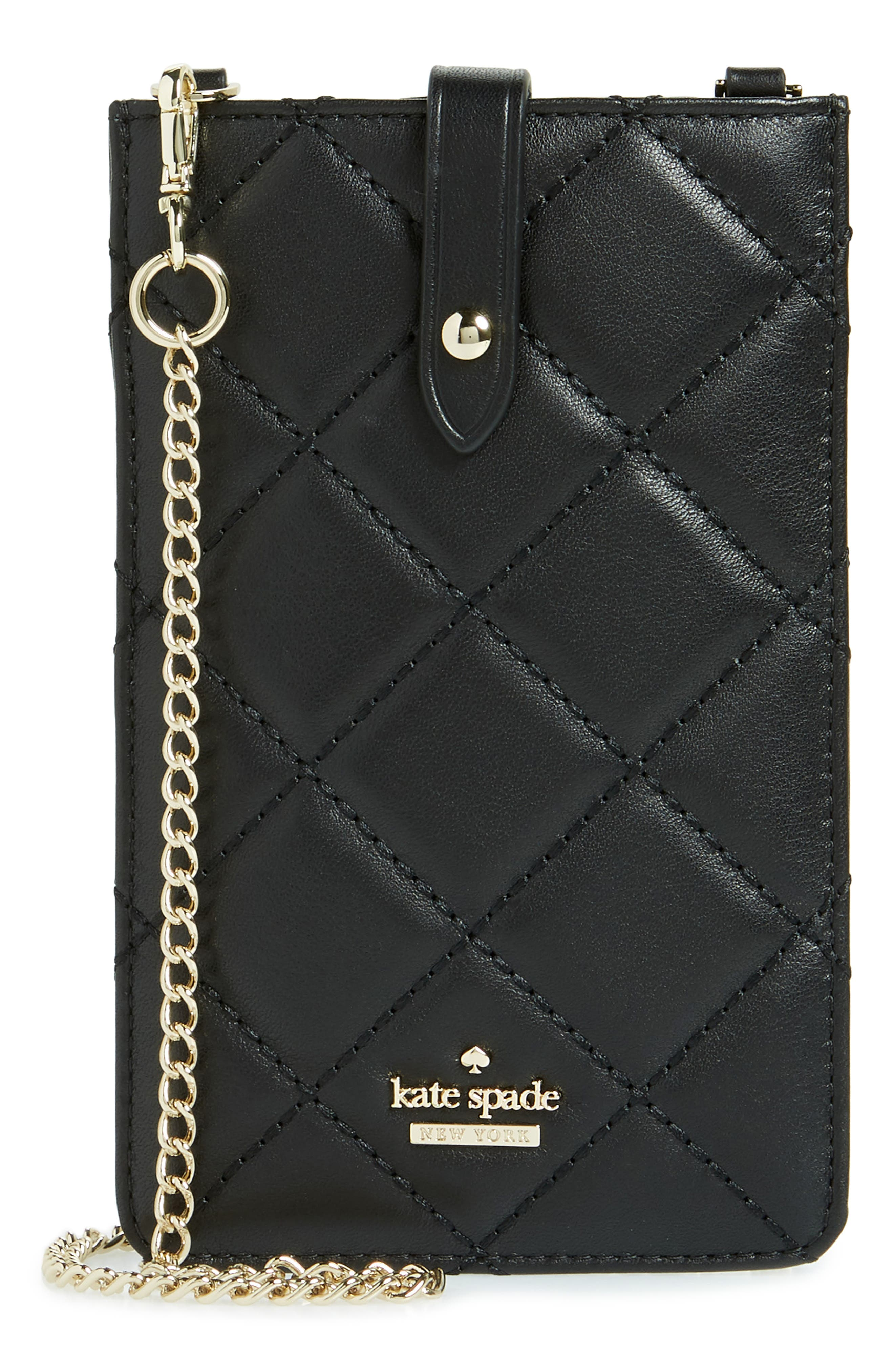 quilted leather iPhone crossbody bag,                             Main thumbnail 1, color,                             Black