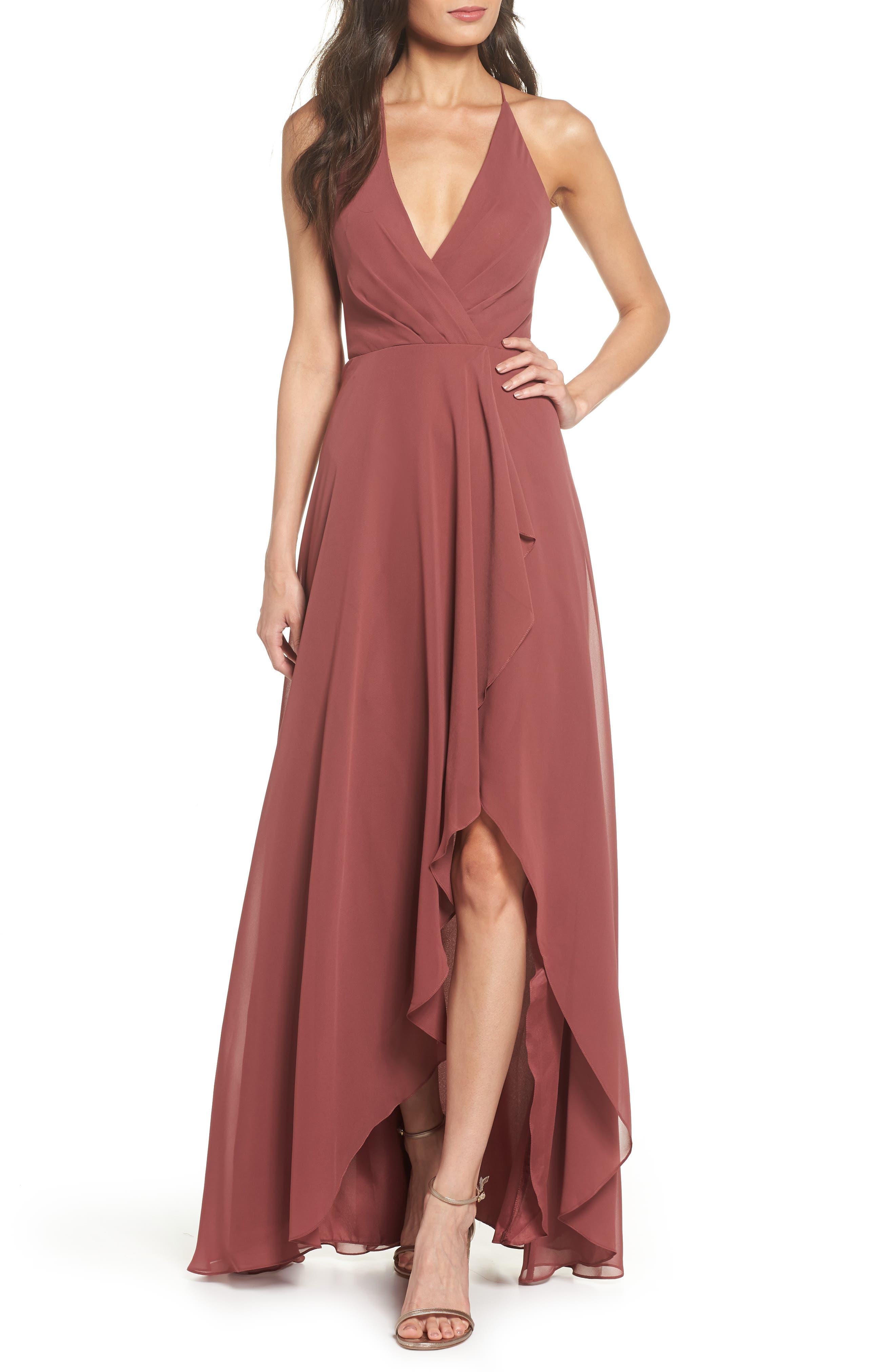 Farrah Ruffle Skirt Chiffon Gown, Cinnamon Rose