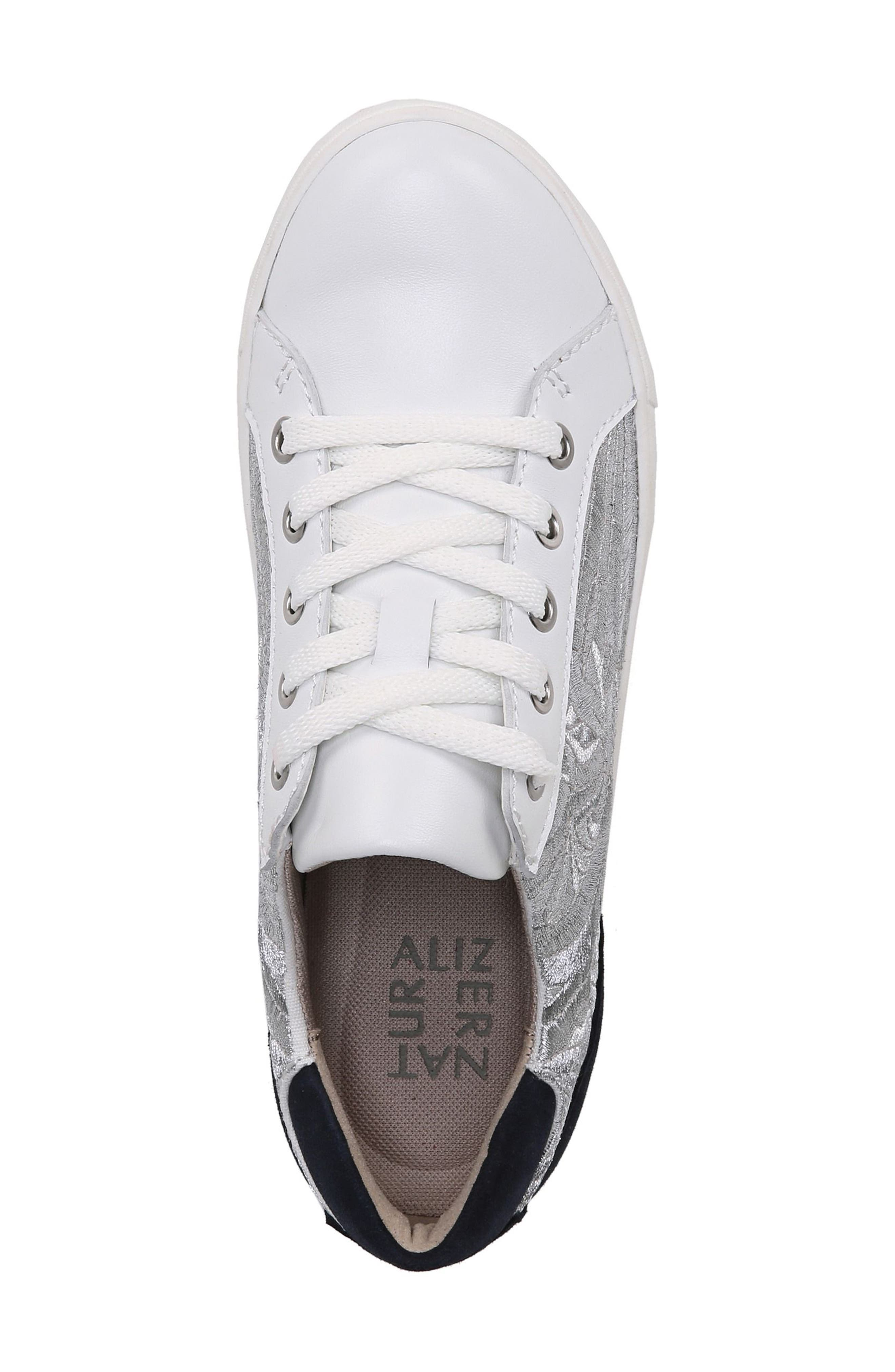 Morrison Sneaker,                             Alternate thumbnail 3, color,                             White/ Silver Leather