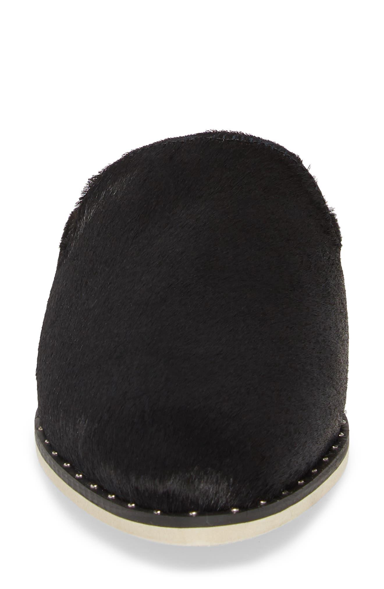 Madison Studded Genuine Calf Hair Loafer Mule,                             Alternate thumbnail 3, color,                             Black Calf Hair