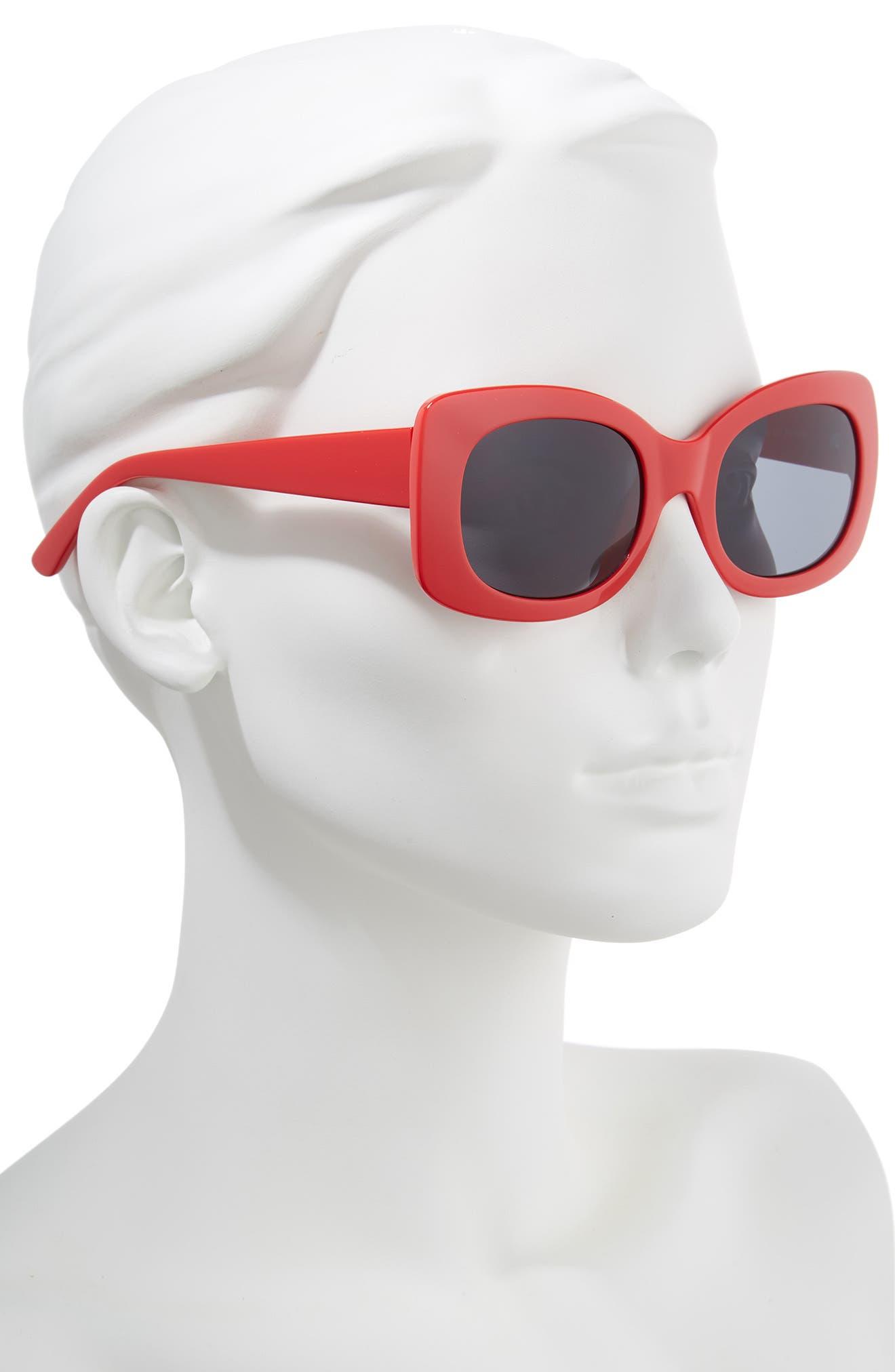 51mm Square Sunglasses,                             Alternate thumbnail 2, color,                             Red/ Black