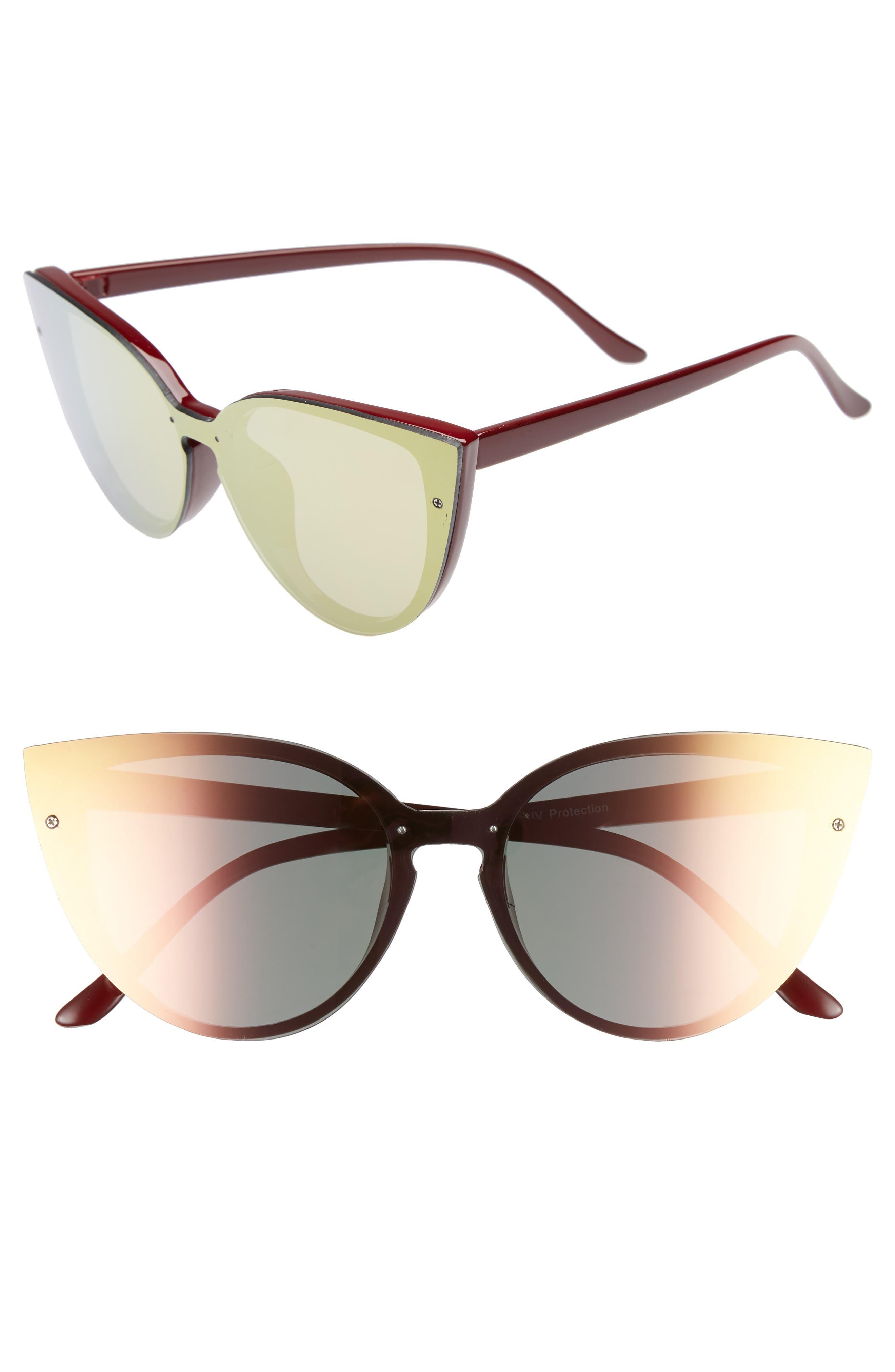 52mm Flat Cat Eye Sunglasses,                             Main thumbnail 1, color,                             Burgundy/ Green