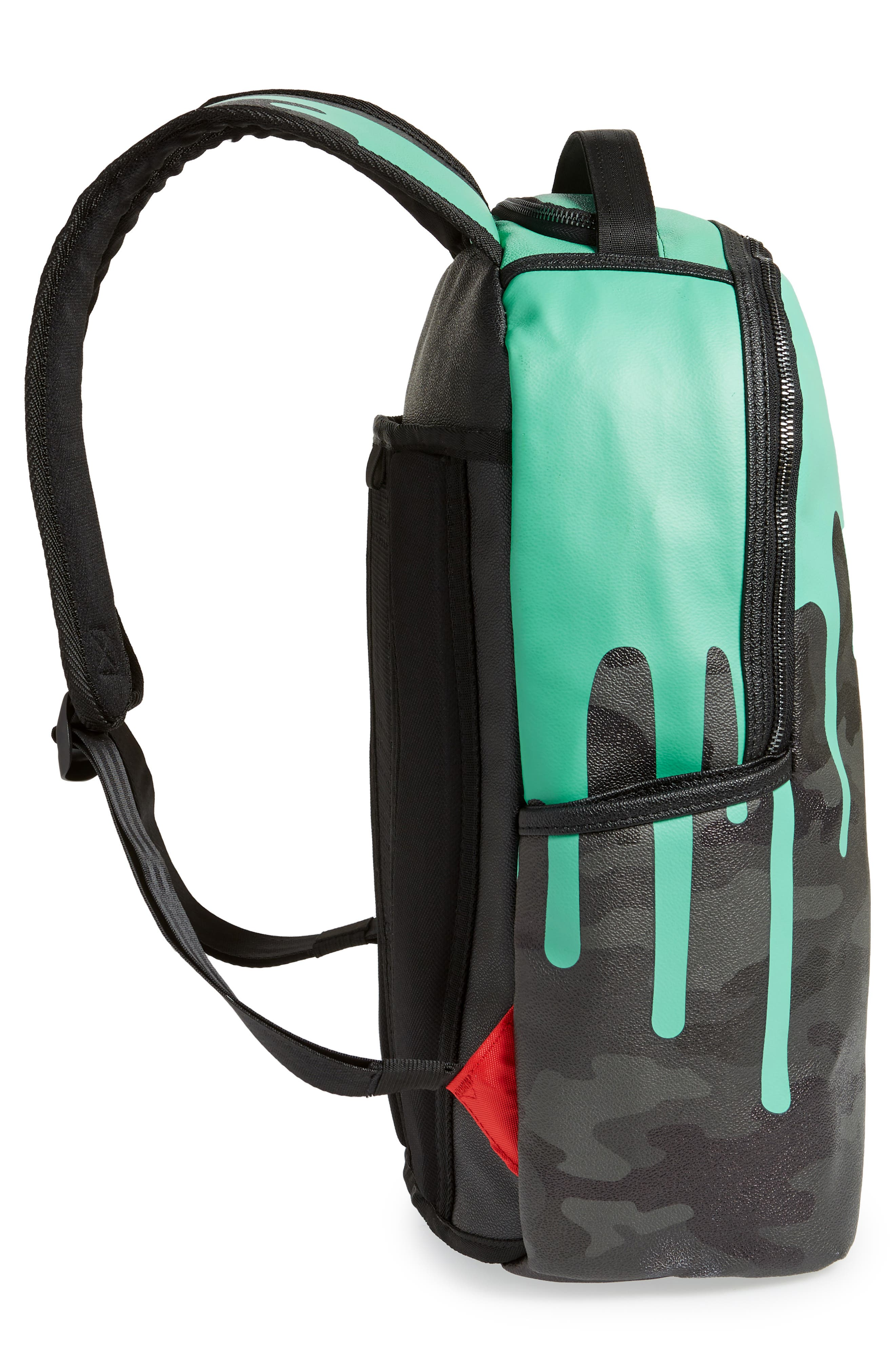 Tiff Drips Print Backpack,                             Alternate thumbnail 5, color,                             Camo/ Teal