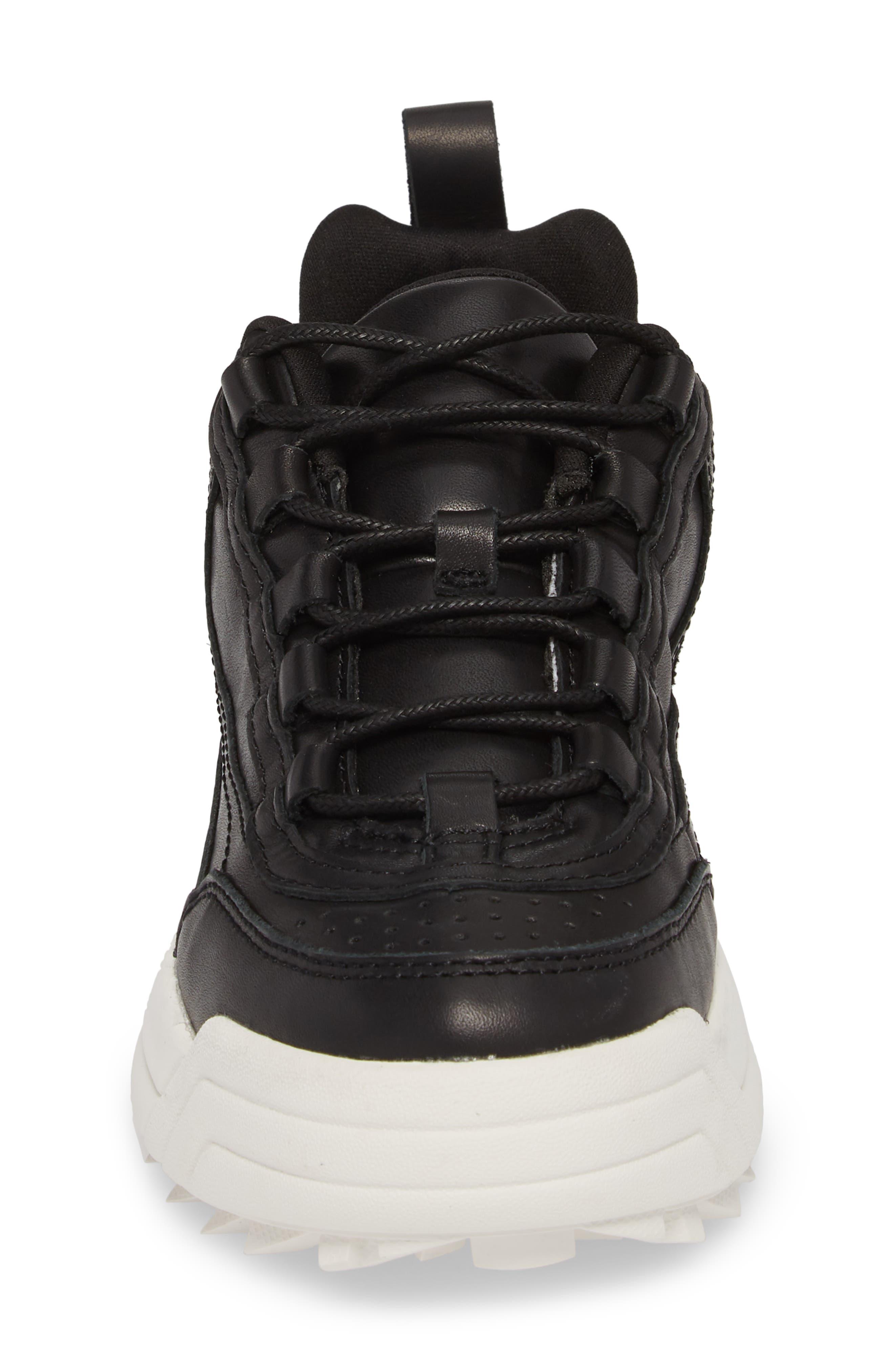 Sidekick Platform Sneaker,                             Alternate thumbnail 4, color,                             Black Leather
