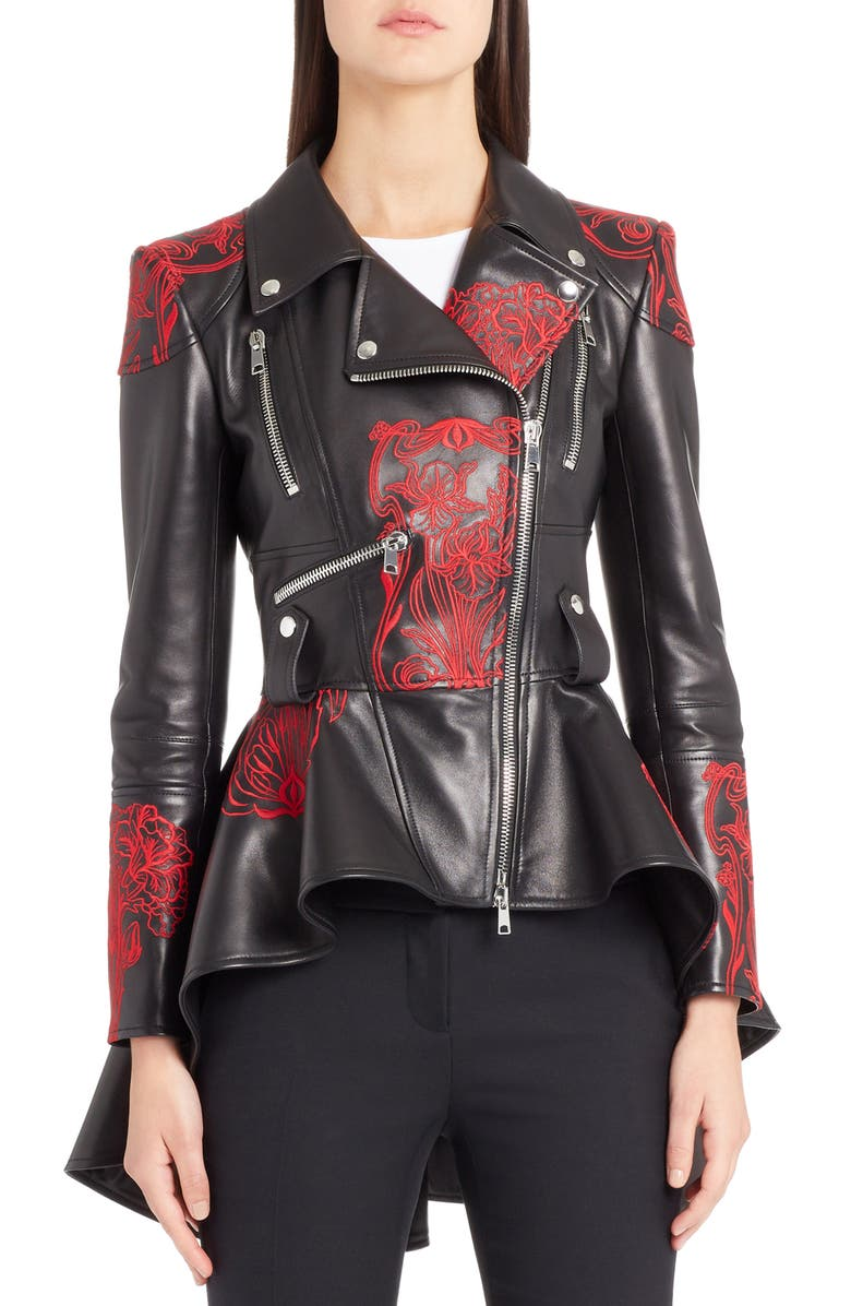 Embroidered Leather Biker Jacket