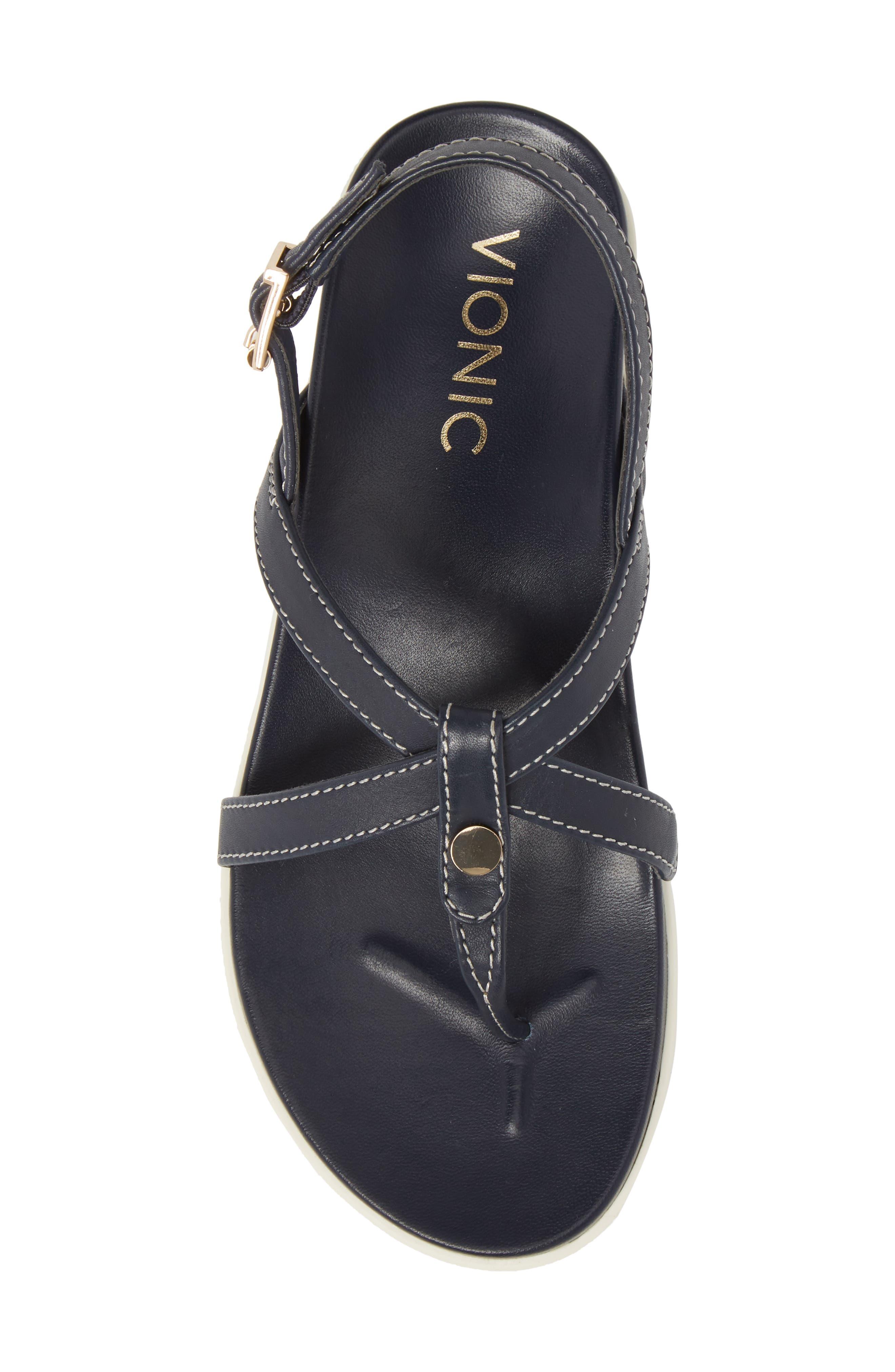 Veranda Orthaheel<sup>®</sup> Sandal,                             Alternate thumbnail 4, color,                             Navy Leather