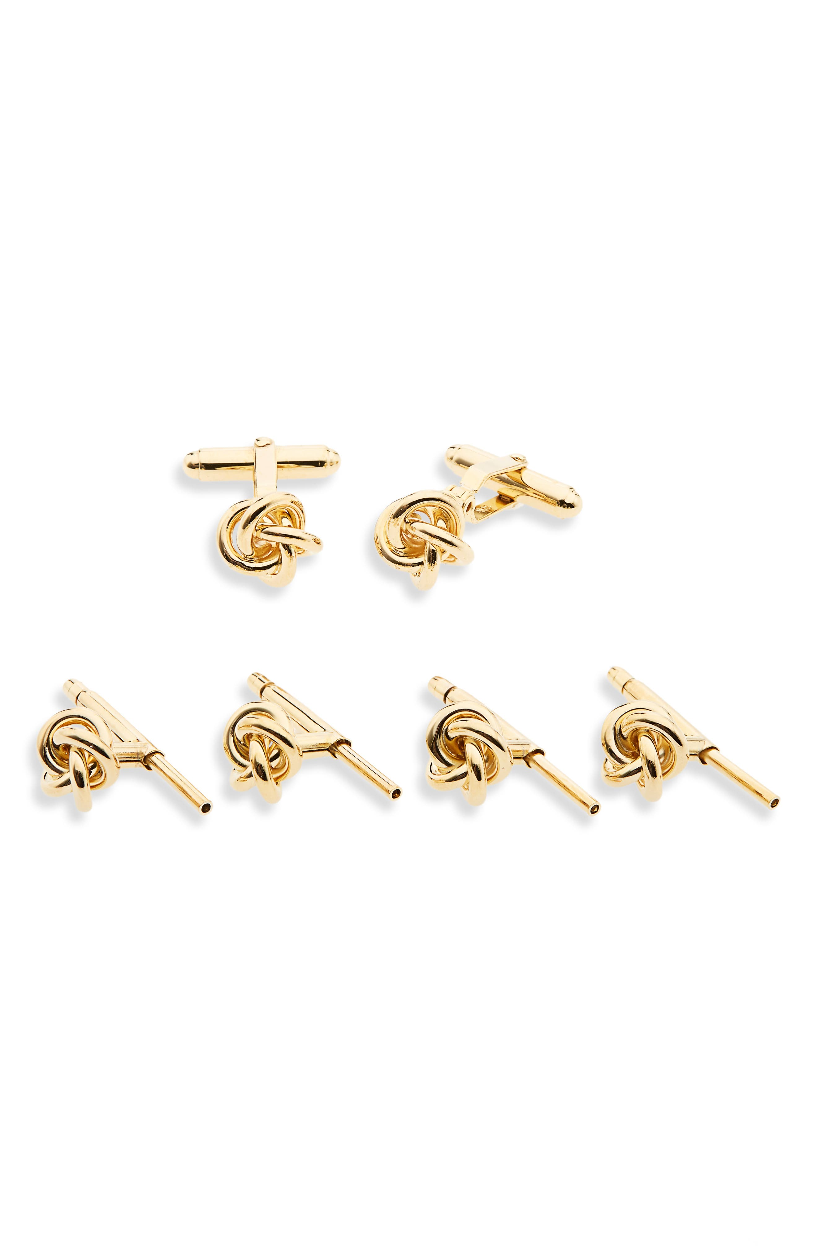 Knot Cuff Link & Stud Set,                         Main,                         color, Gold