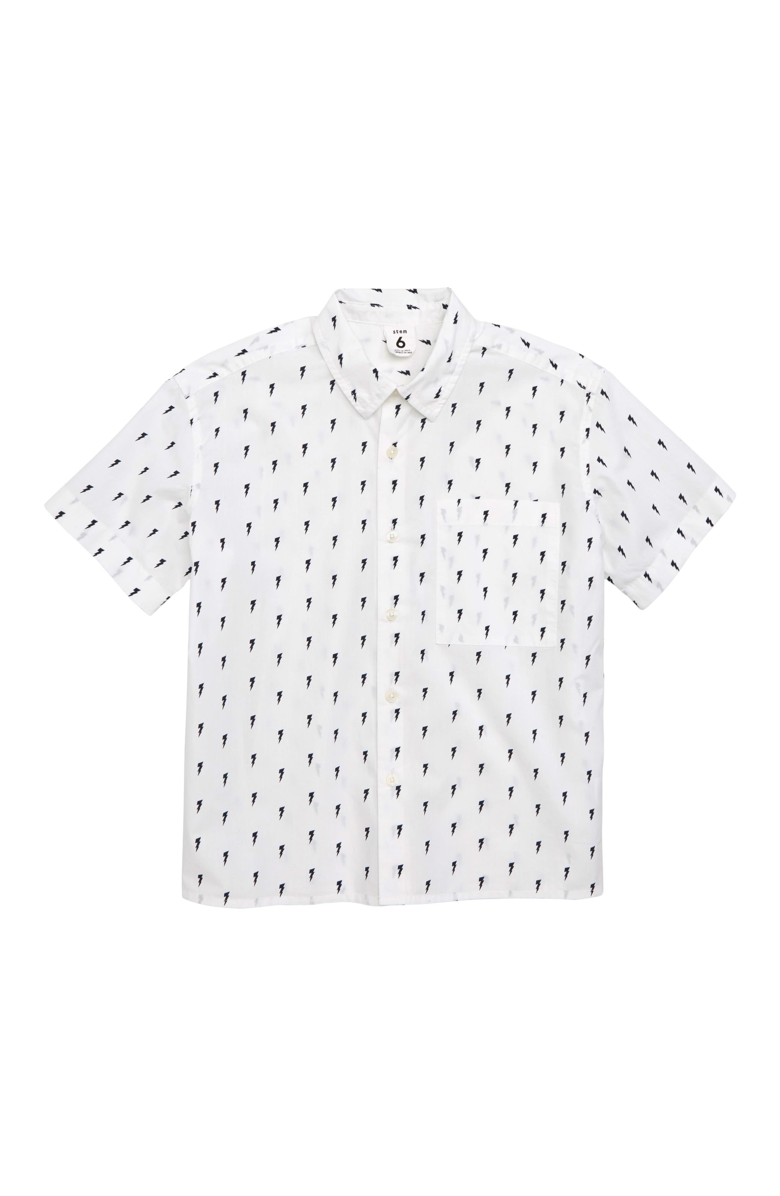 Print Woven Shirt,                         Main,                         color, White- Navy Bolts