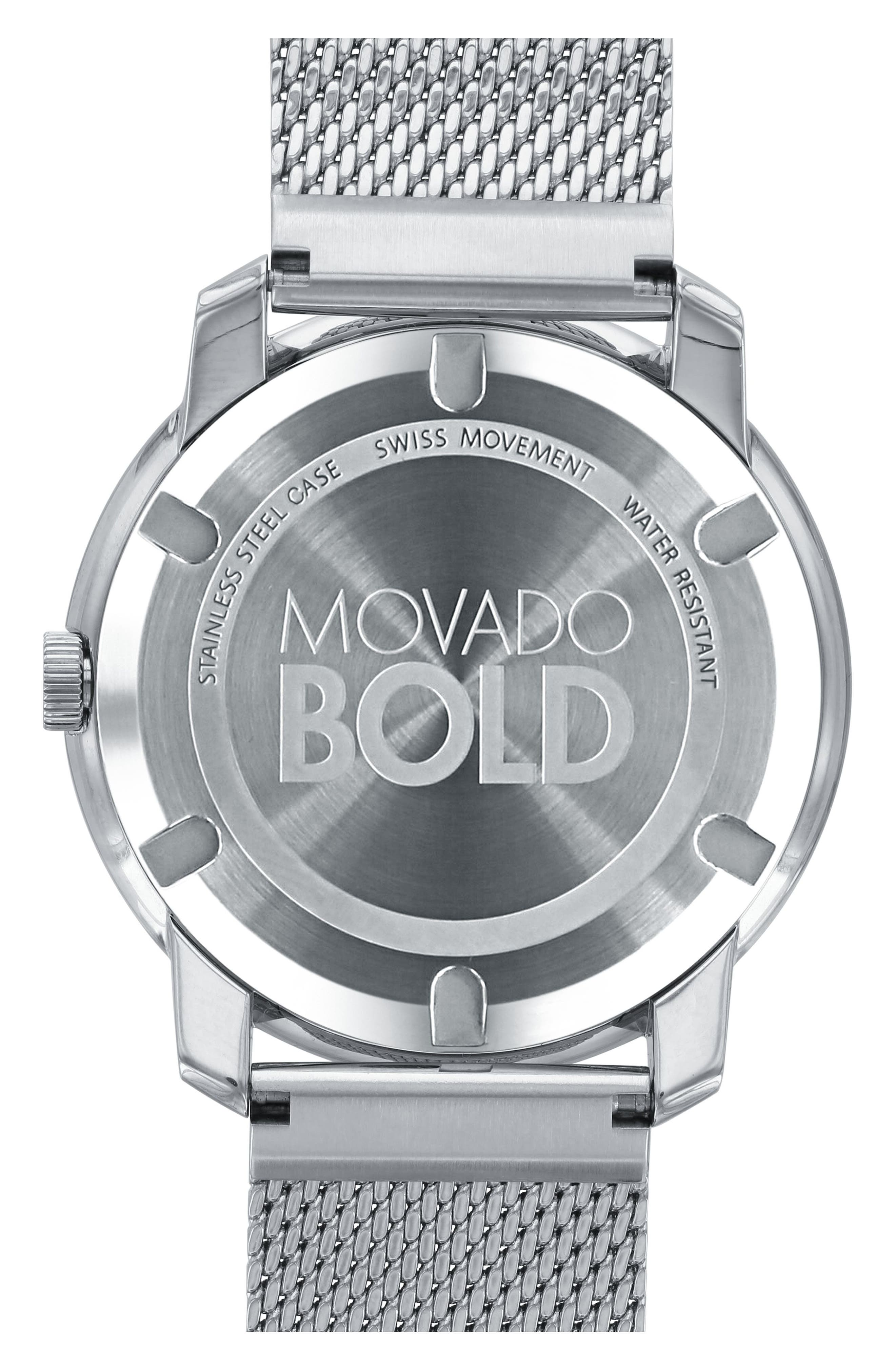 'Bold' Mesh Strap Watch, 44mm,                             Alternate thumbnail 2, color,                             Silver