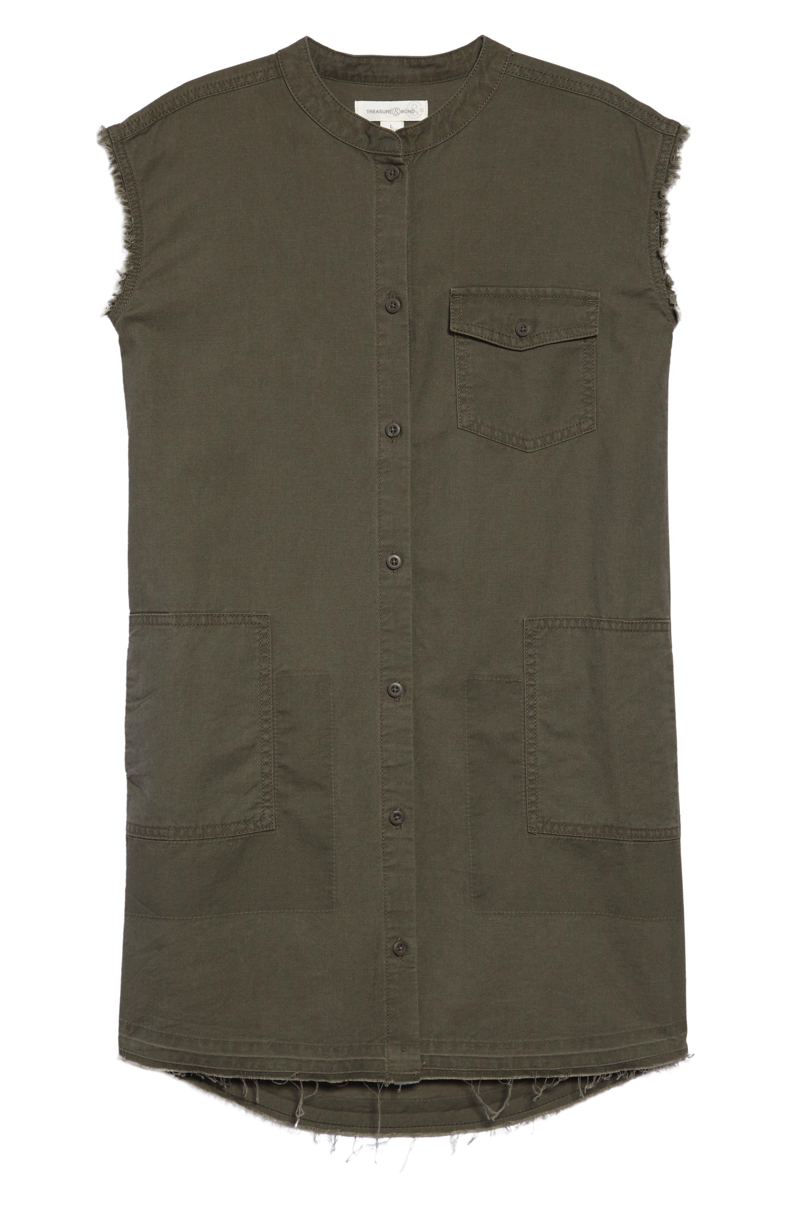 Frayed Hem Sleeveless Shirtdress,                             Main thumbnail 1, color,                             Olive Sarma