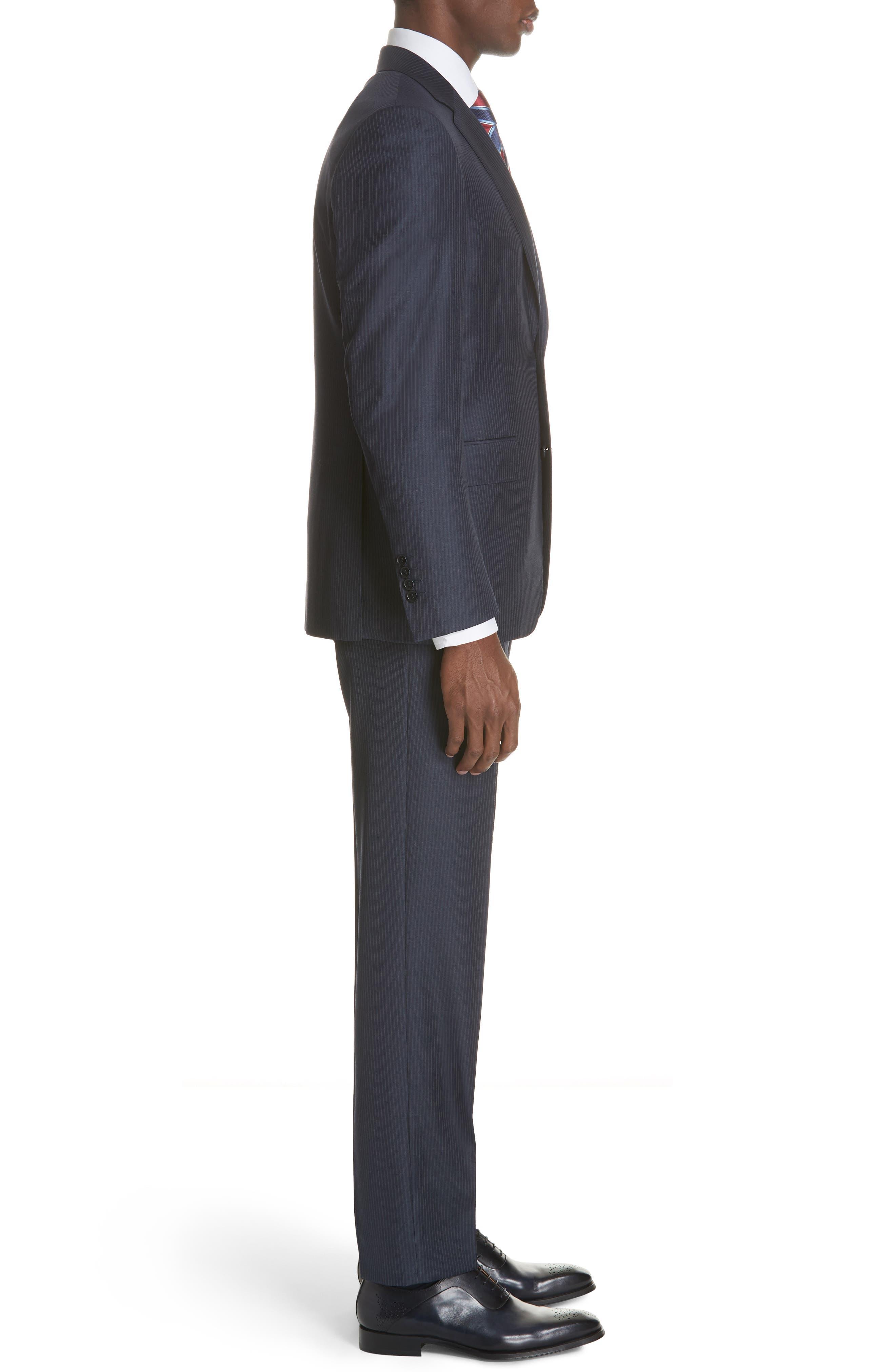 Siena Classic Fit Stripe Wool Suit,                             Alternate thumbnail 5, color,                             Blue