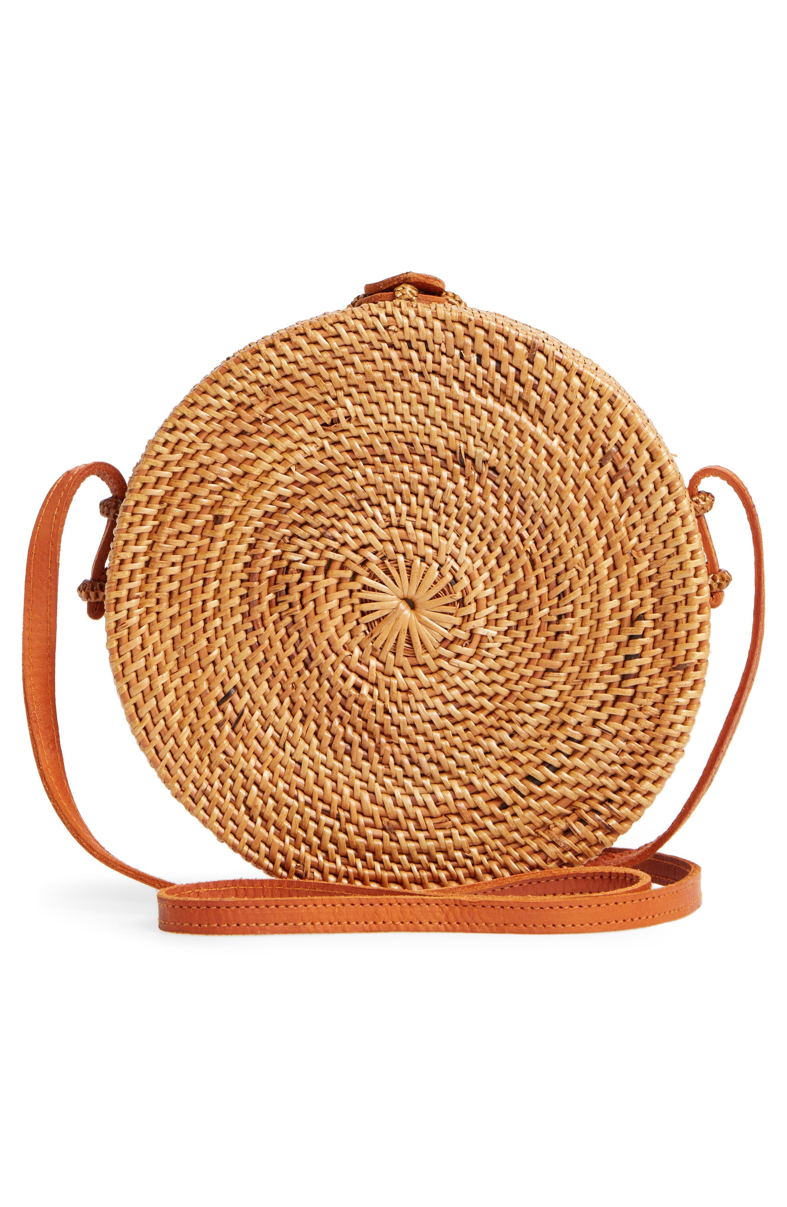 Woven Rattan Circle Basket Crossbody,                             Alternate thumbnail 3, color,                             Tan