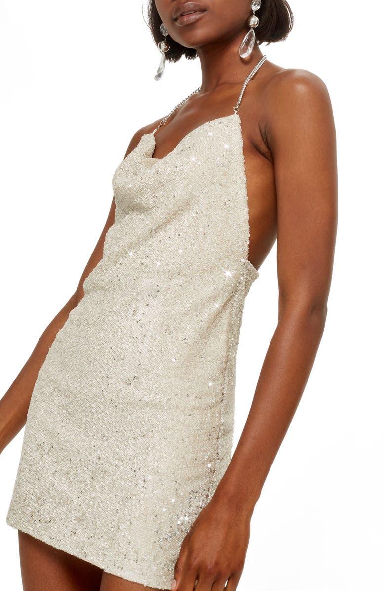 Brushed Sequin Cowl Neck Dress