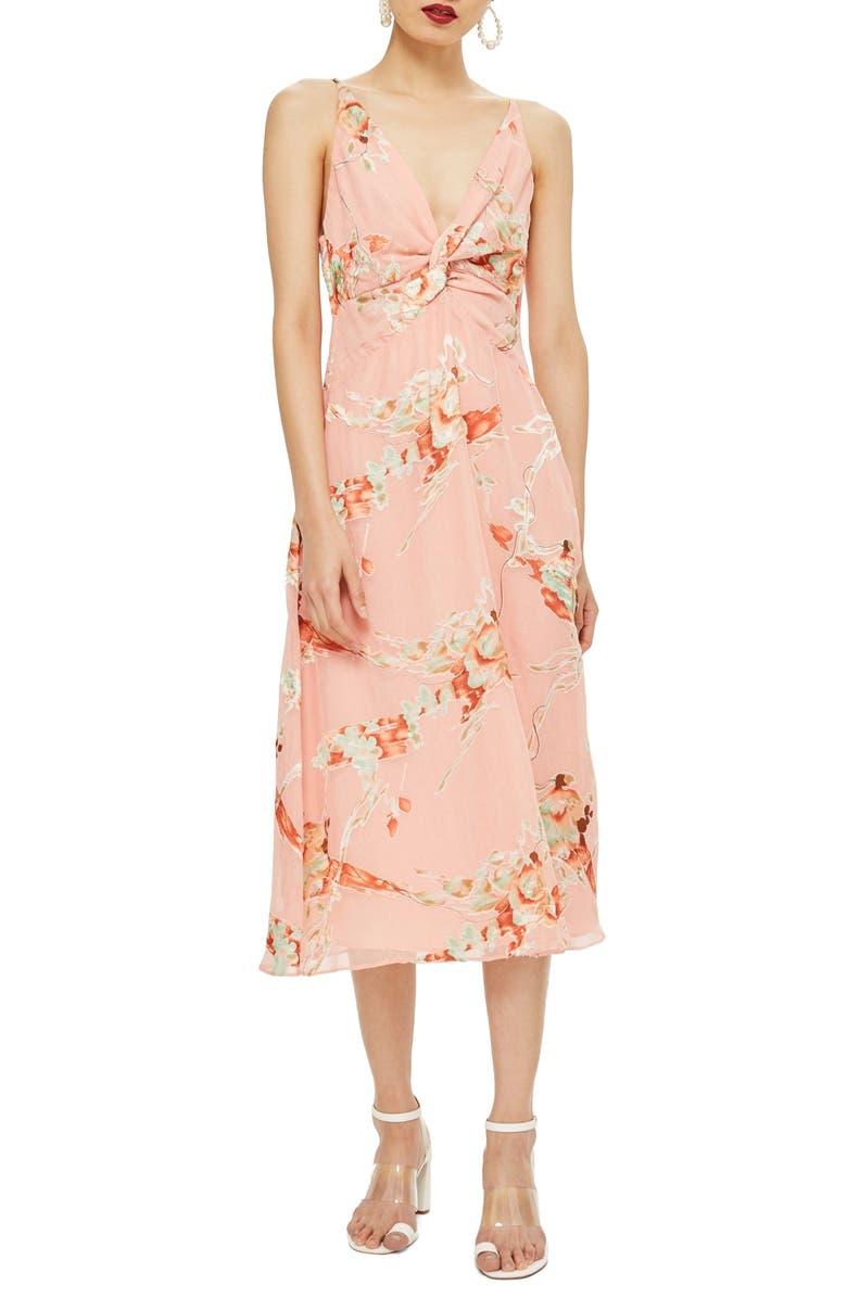 Twist Front Floral Midi Dress