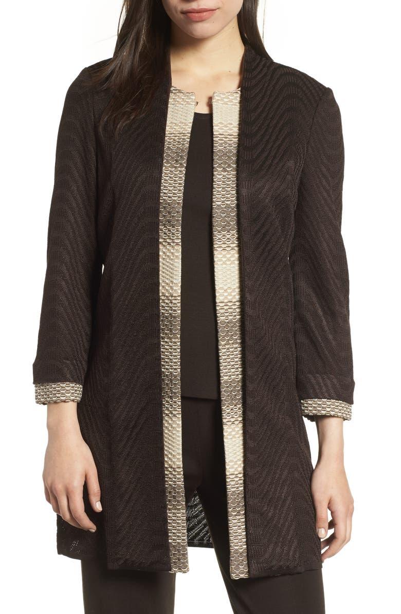 Long Jacquard Knit Jacket
