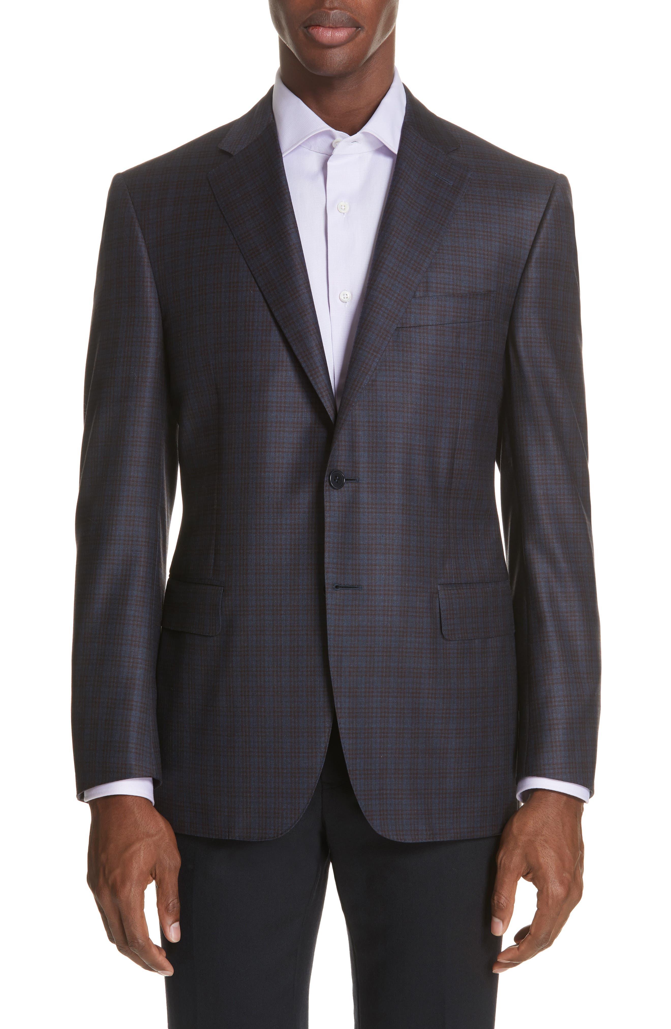 Classic Fit Plaid Wool Sport Coat,                             Main thumbnail 1, color,                             Dark Blue