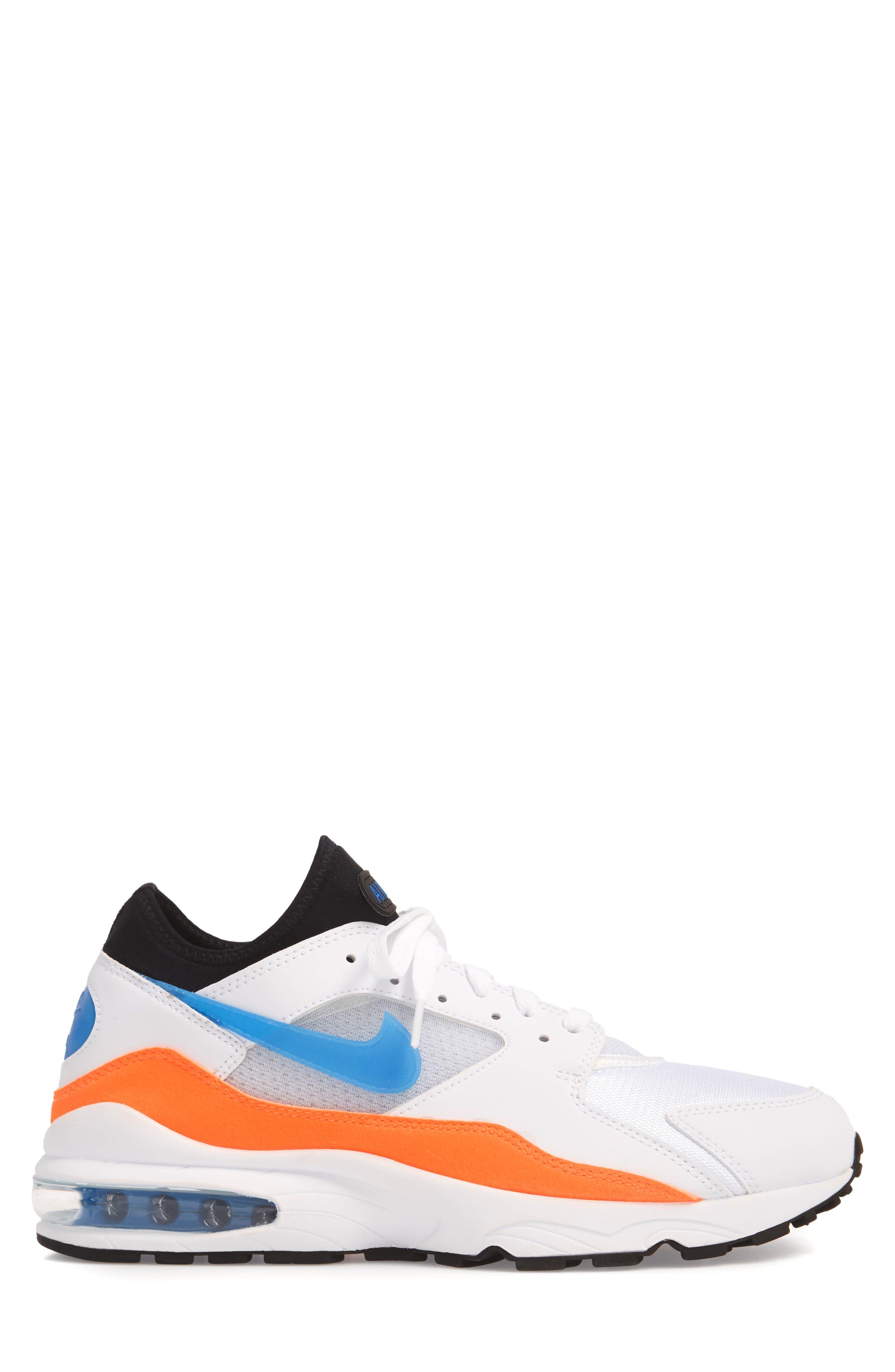 Air Max 93 Sneaker,                             Alternate thumbnail 6, color,                             White/ Blue Nebula/ Orange