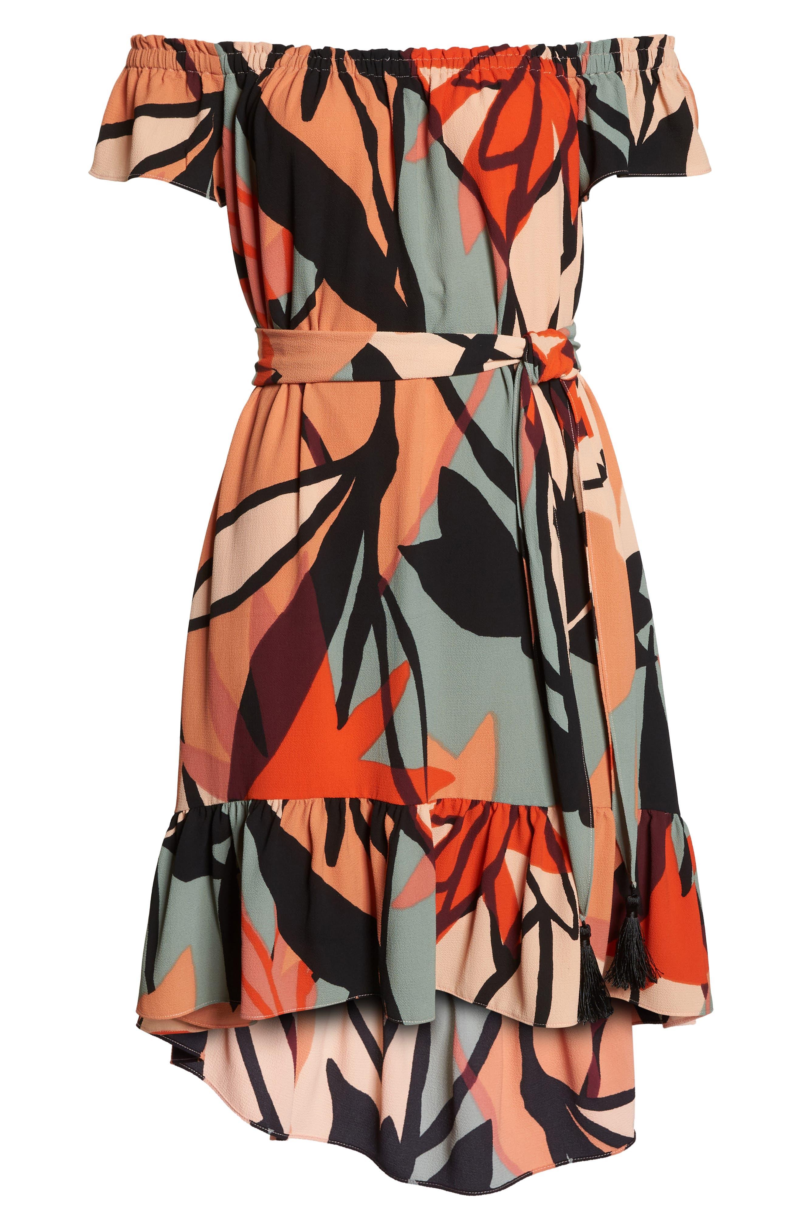 Off the Shoulder Bubble Crepe Dress,                             Alternate thumbnail 7, color,                             Peach / Black