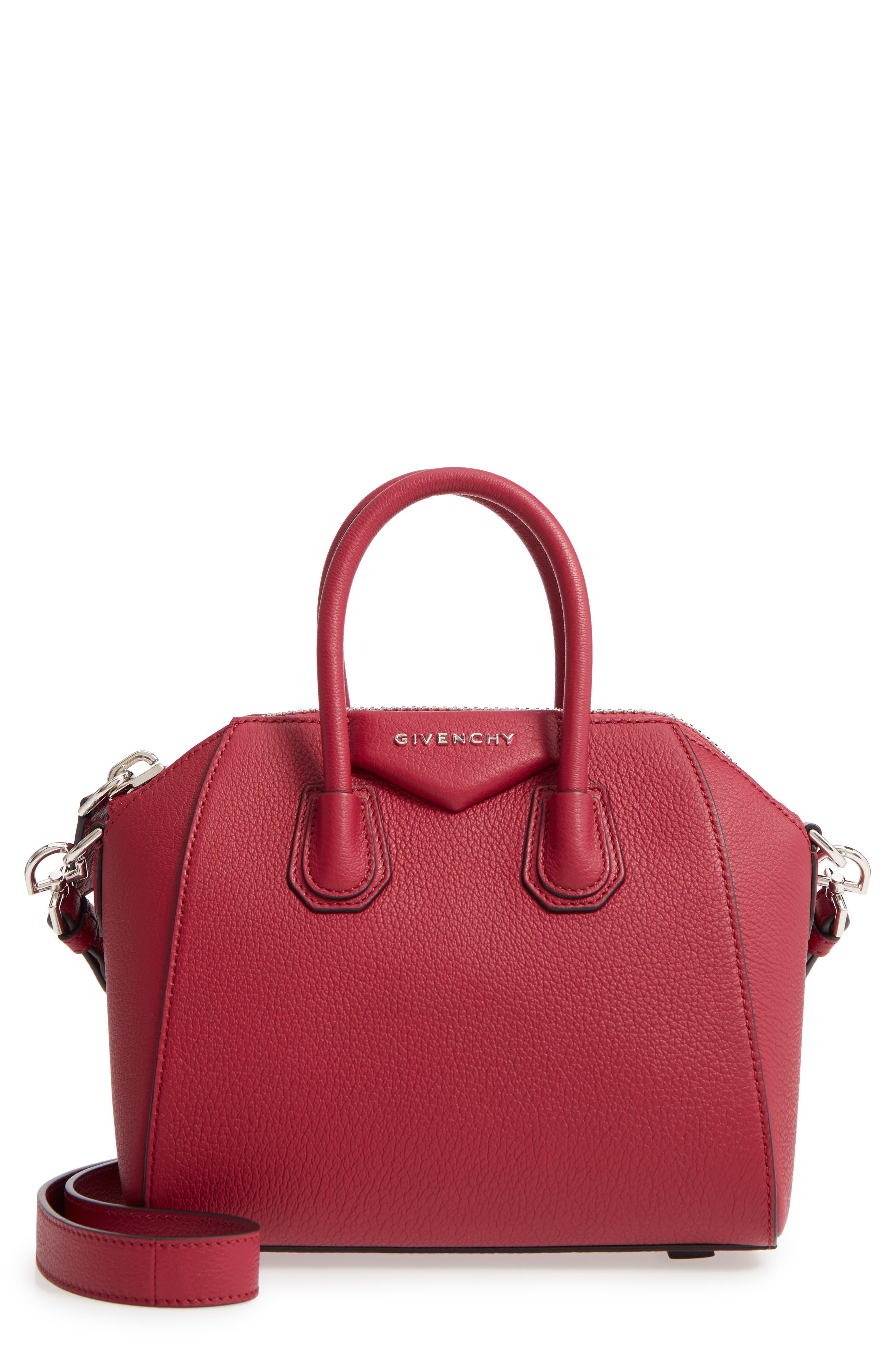 'Mini Antigona' Sugar Leather Satchel,                             Main thumbnail 1, color,                             Fig Pink