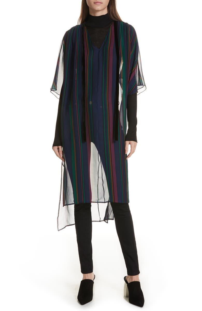 The Maggie Velvet Trim Stripe Silk Crinkle Chiffon Dress