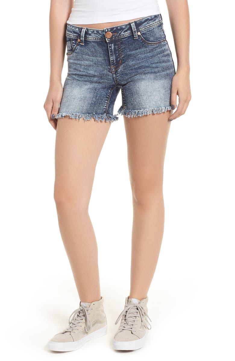 Fray Hem Acid Wash Denim Shorts