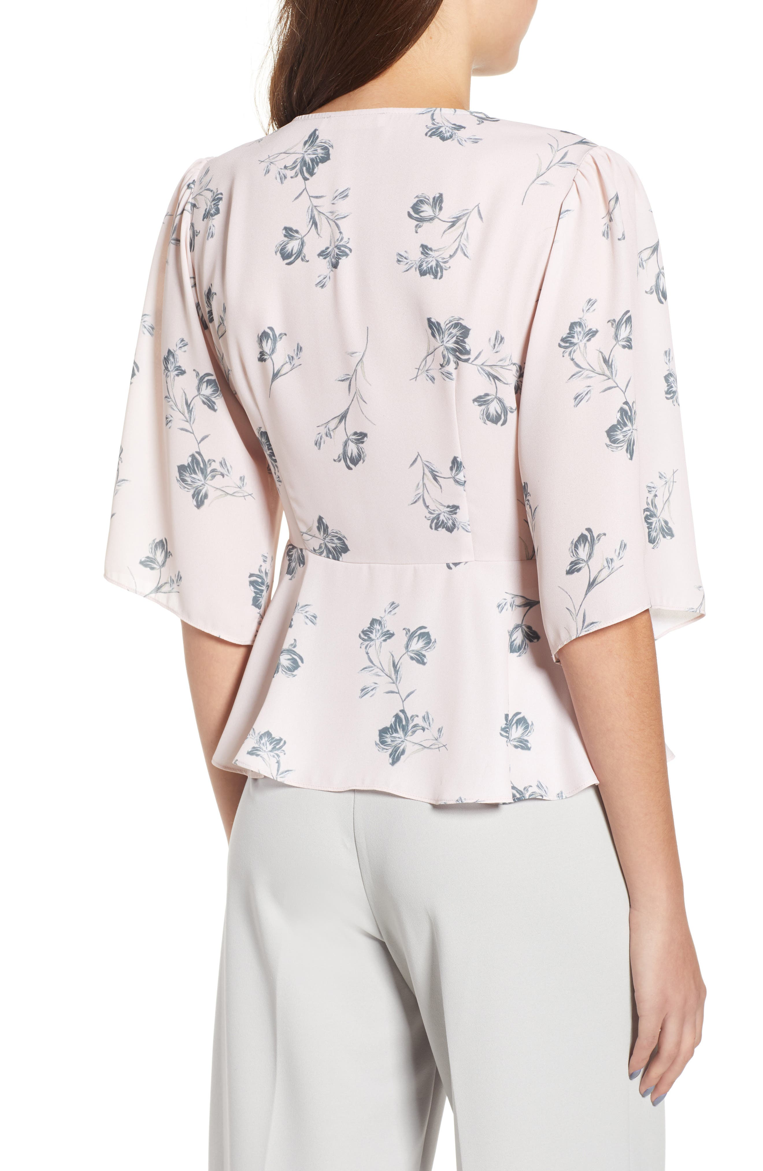 Plunging Knot Front Top,                             Alternate thumbnail 2, color,                             Rose Cloud Floral