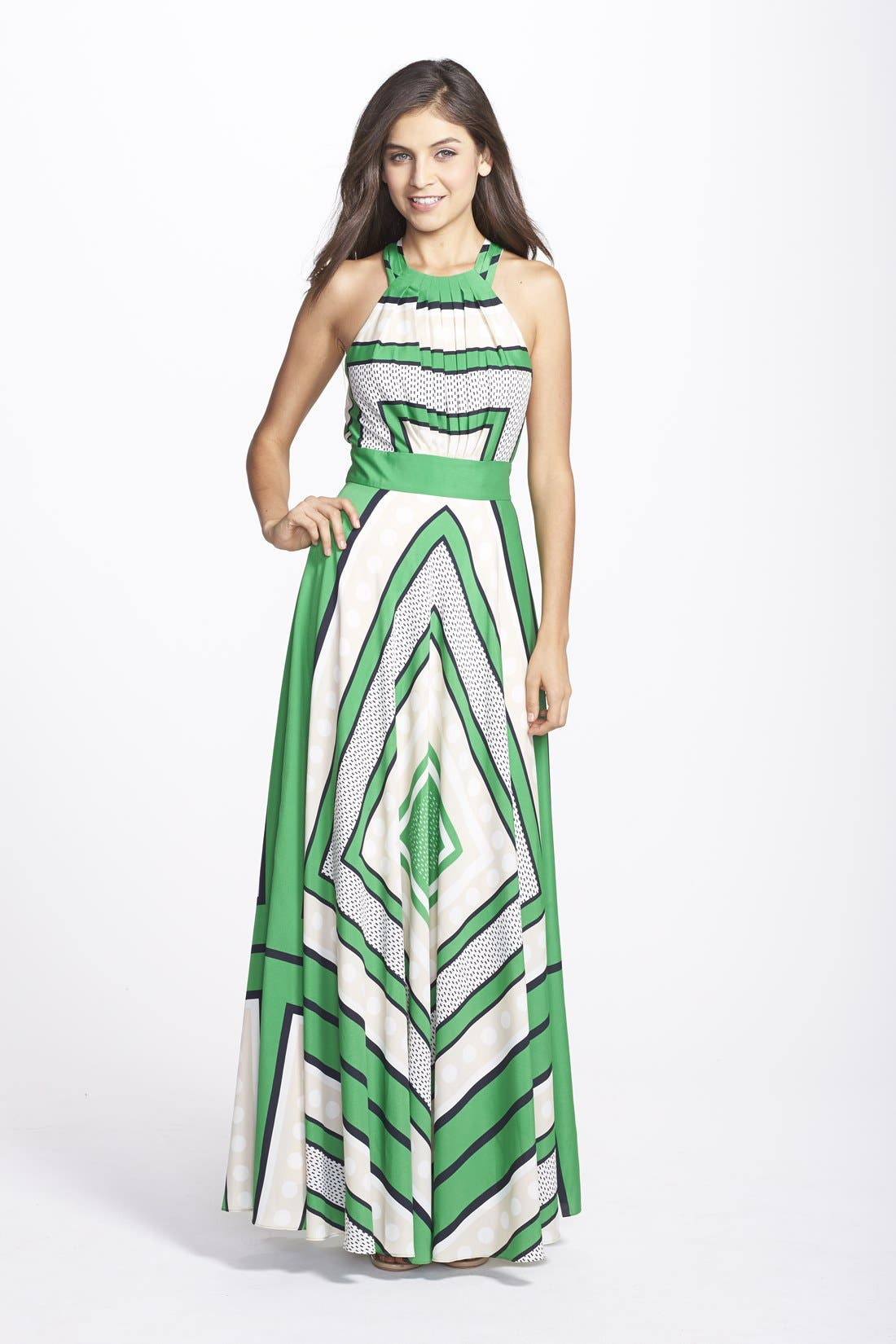 Scarf Print Crêpe de Chine Fit & Flare Maxi Dress,                         Main,                         color, Green