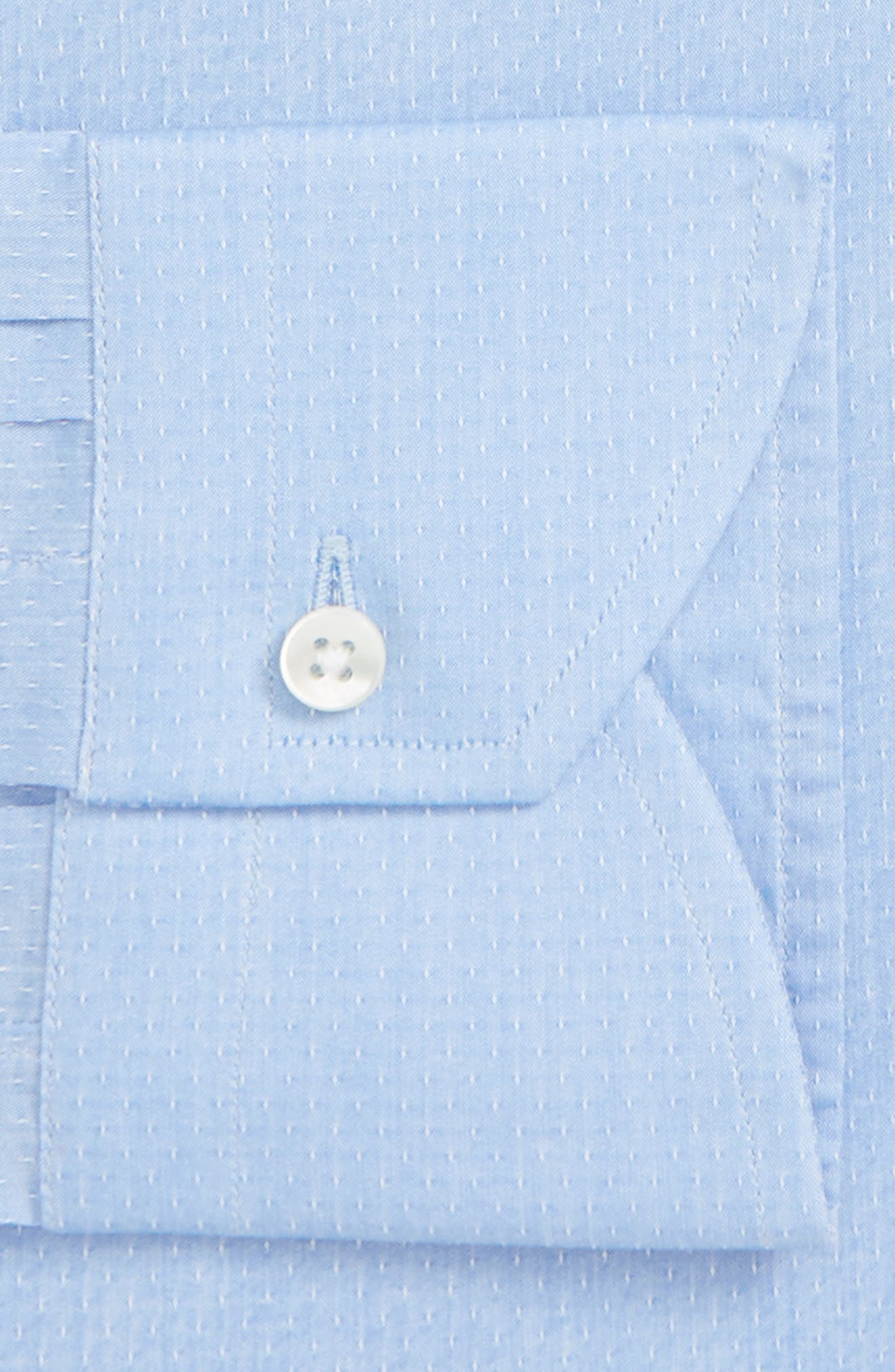 Regular Fit Stretch Dot Dress Shirt,                             Alternate thumbnail 5, color,                             Light Blue