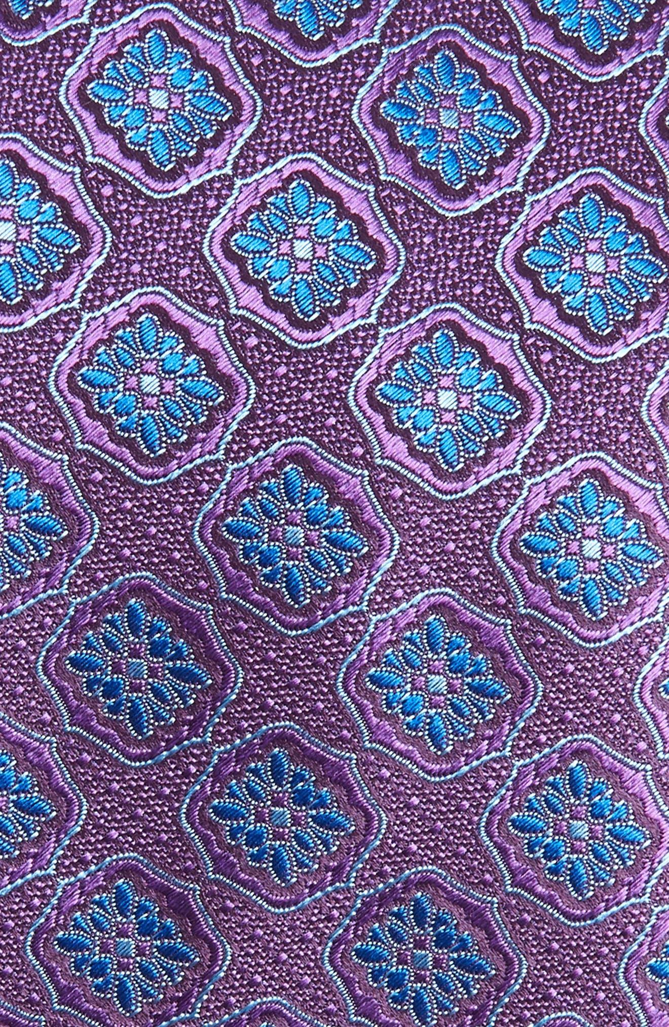 Medallion Silk Tie,                             Alternate thumbnail 2, color,                             Purple