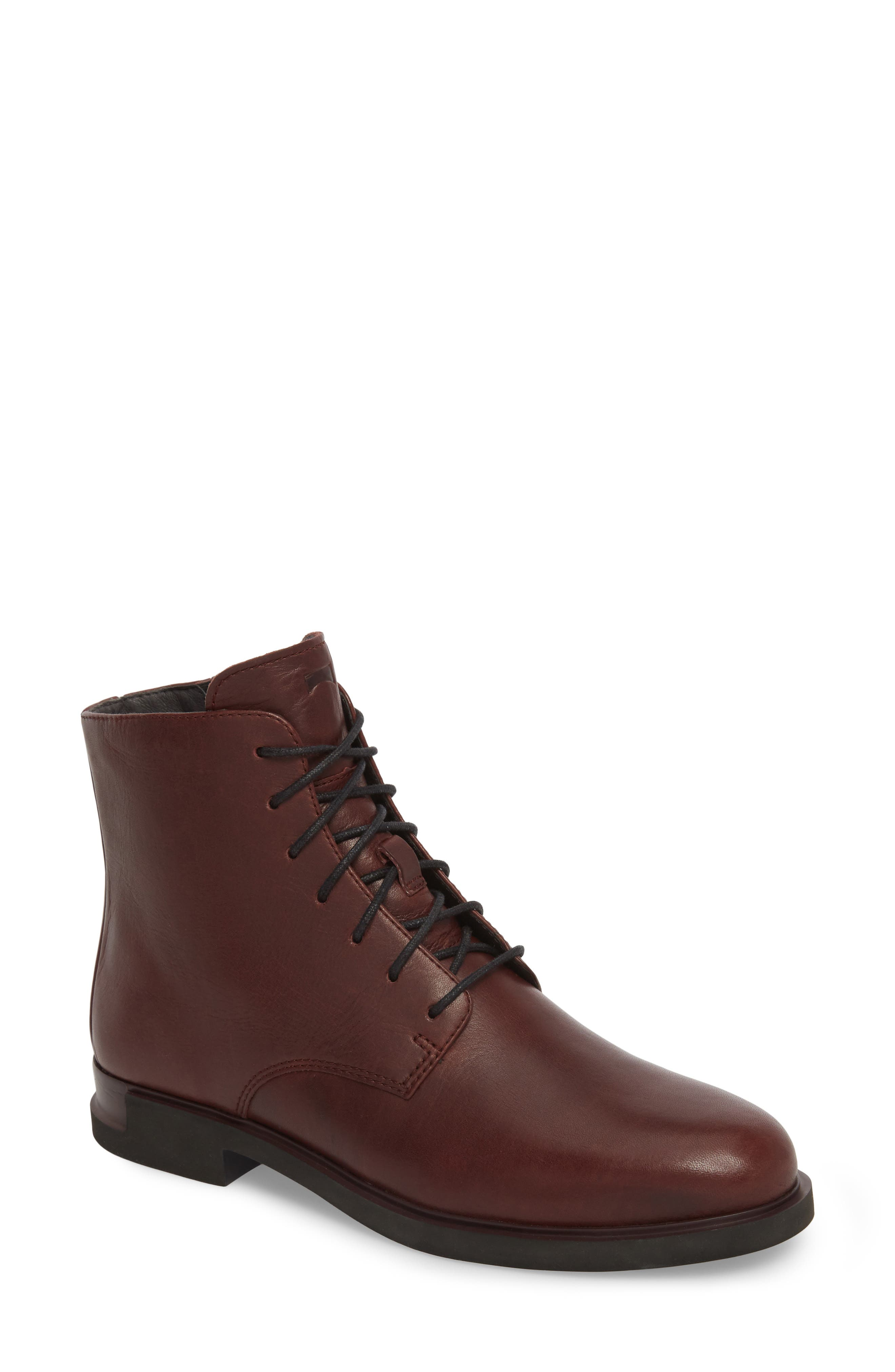 Helix Lace-Up Bootie,                             Main thumbnail 1, color,                             Burgundy Leather